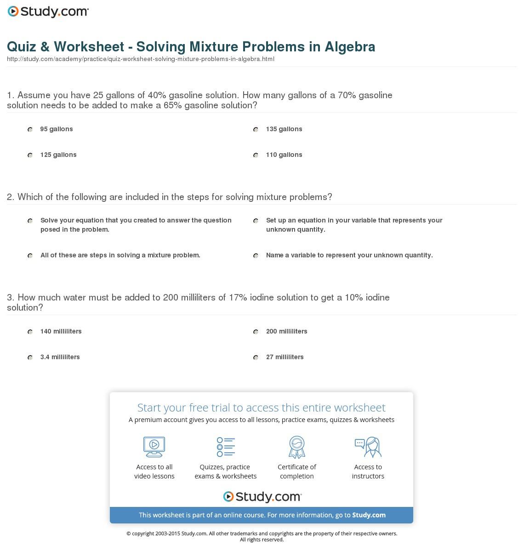 Solving Problems Algebraically Worksheet Answers Algebra