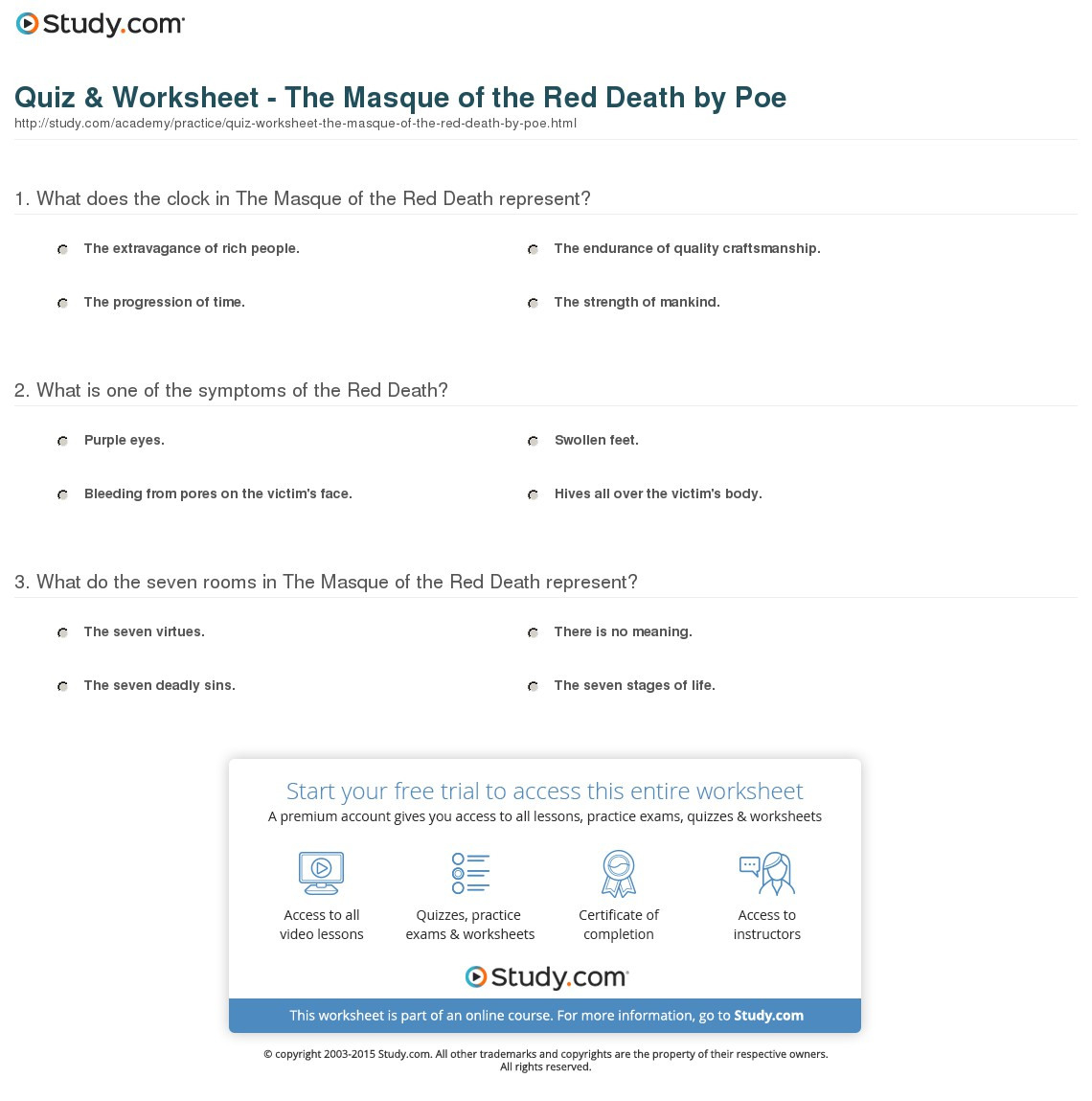 Masque Of The Red Worksheet Db Excel