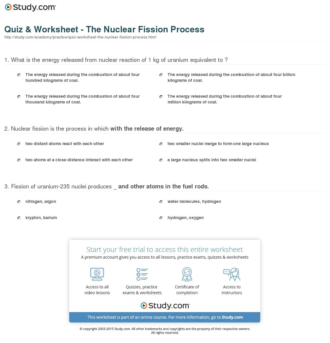 Quiz Worksheet The Nuclear Fission Study