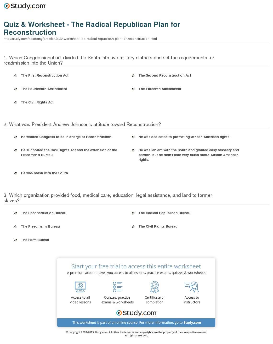 Radical Republican Reconstruction Worksheet Answers