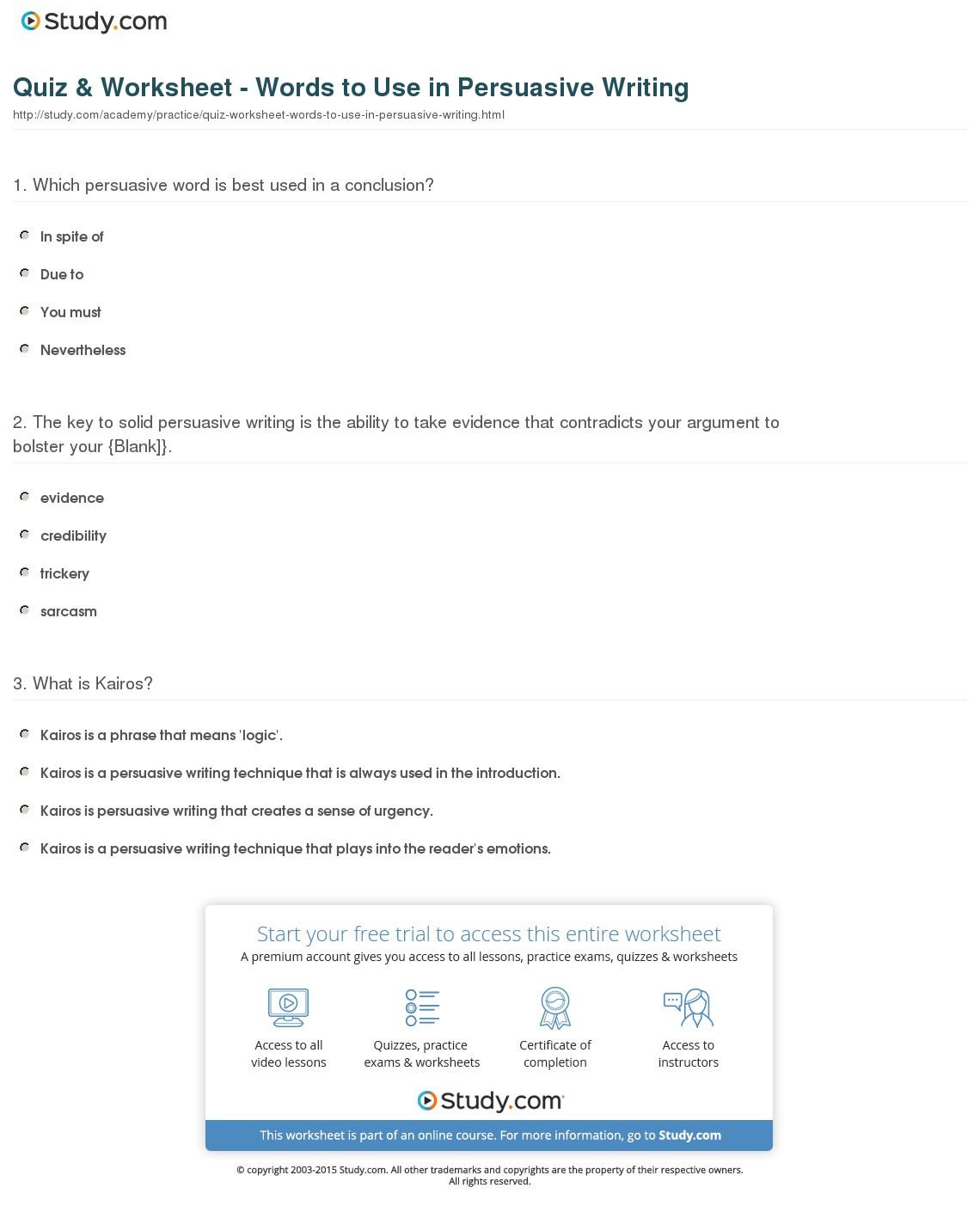Quiz Worksheet Words To Use In Persuasive Writing