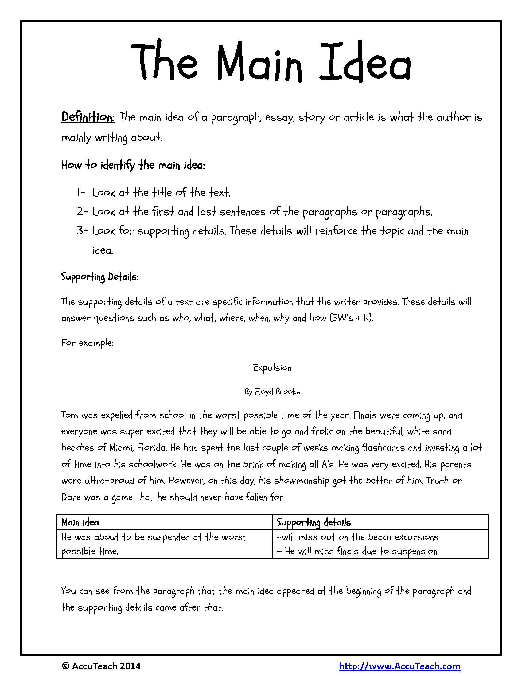 Reading Comprehension Main Idea Worksheets