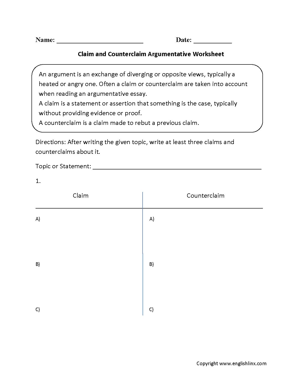 Claim Counterclaim Rebuttal Worksheet Db Excel