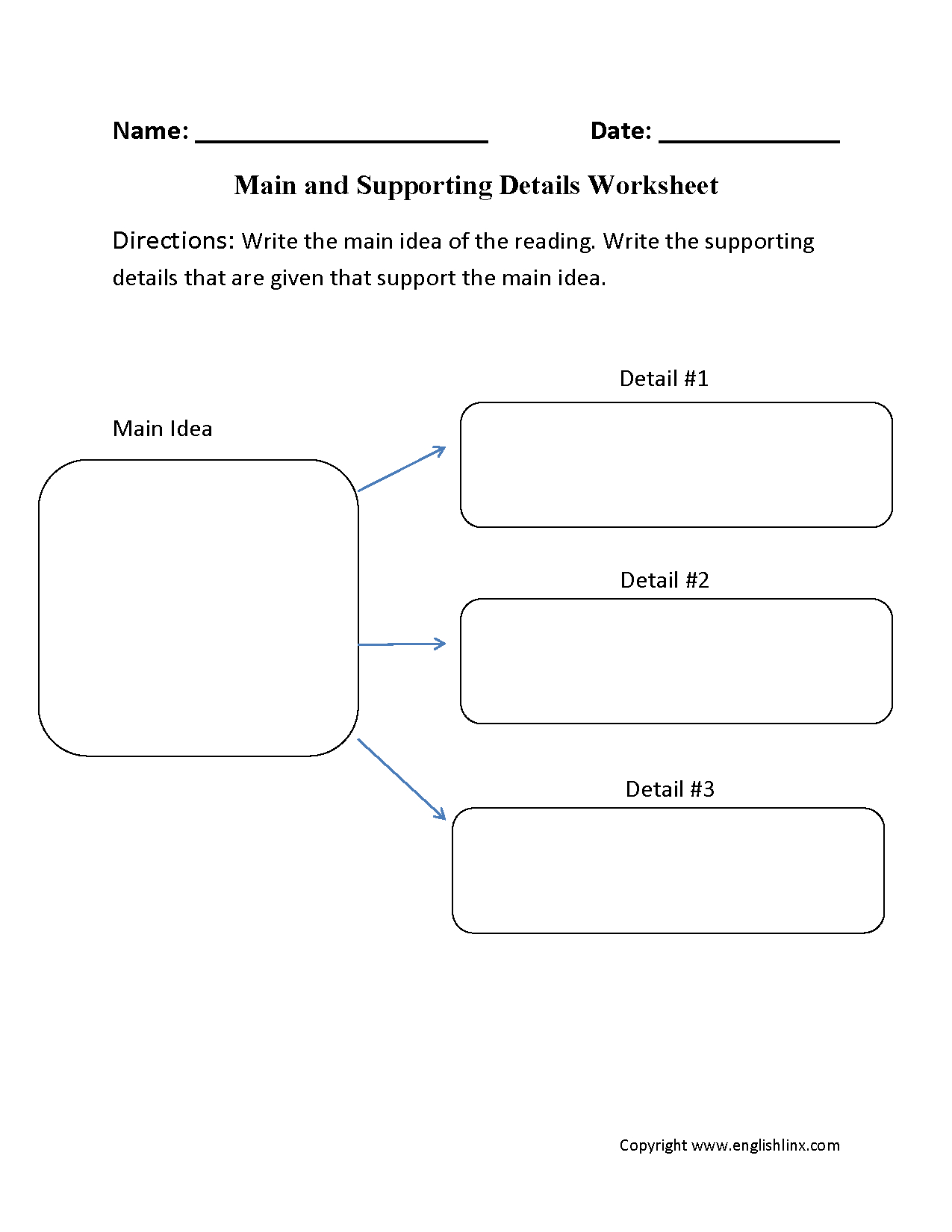 Main Idea And Supporting Details Worksheets Db Excel