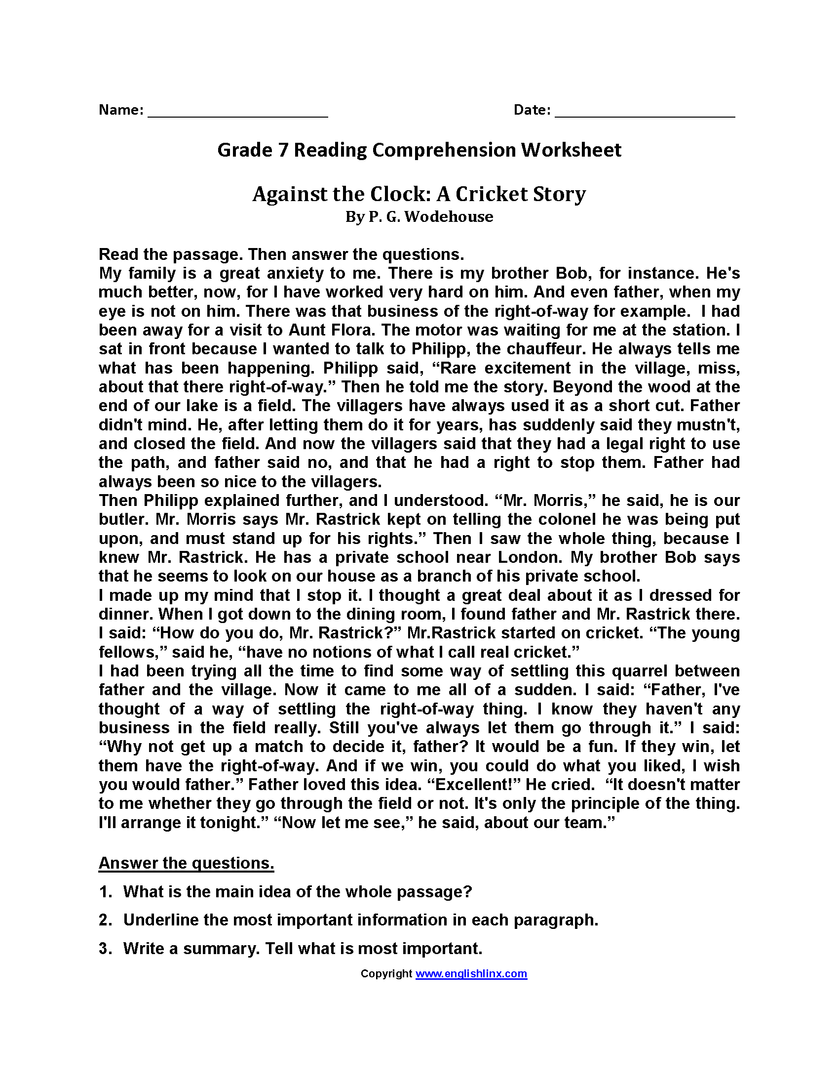 7th Grade Reading And Writing Worksheets
