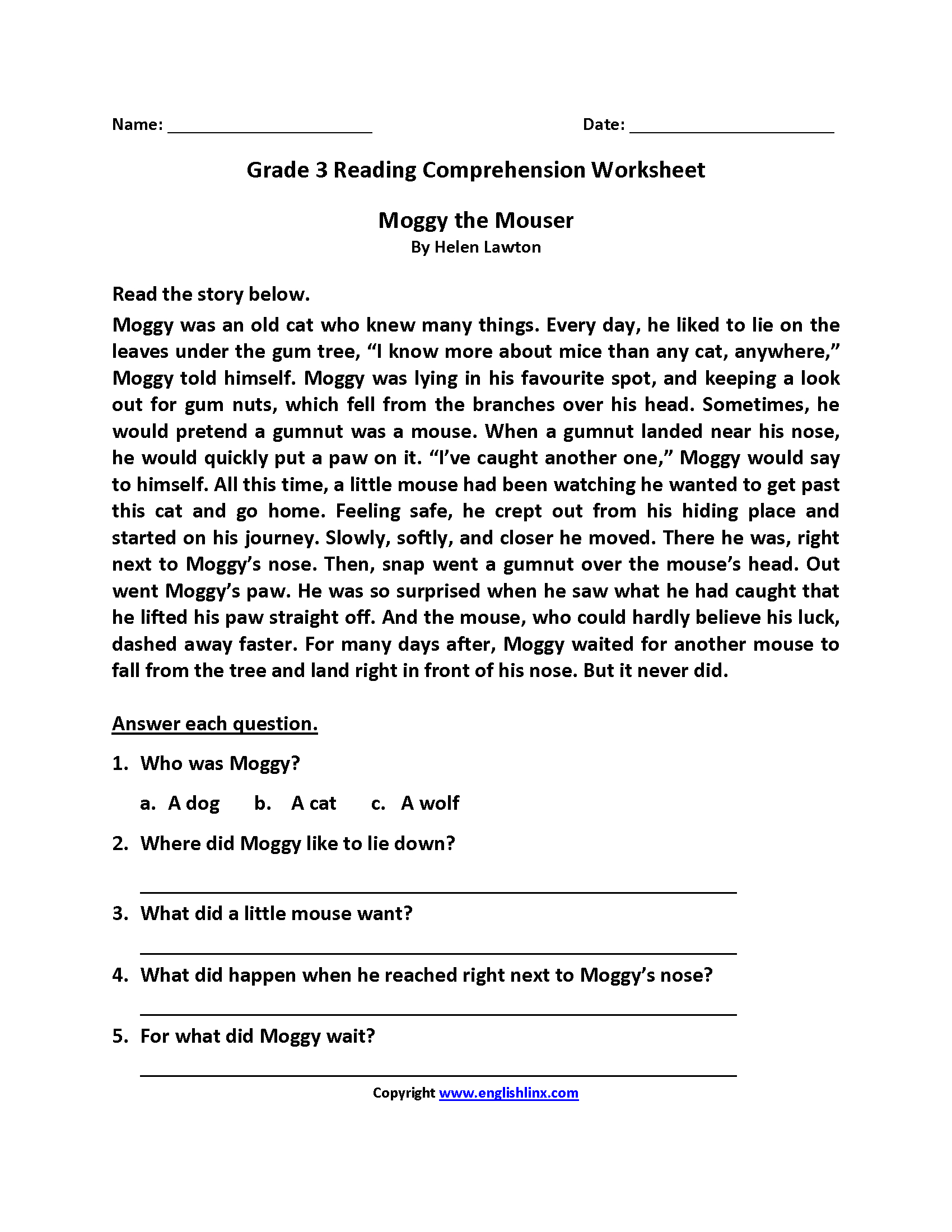 Reading Worksheets Third Grade Reading Worksheets