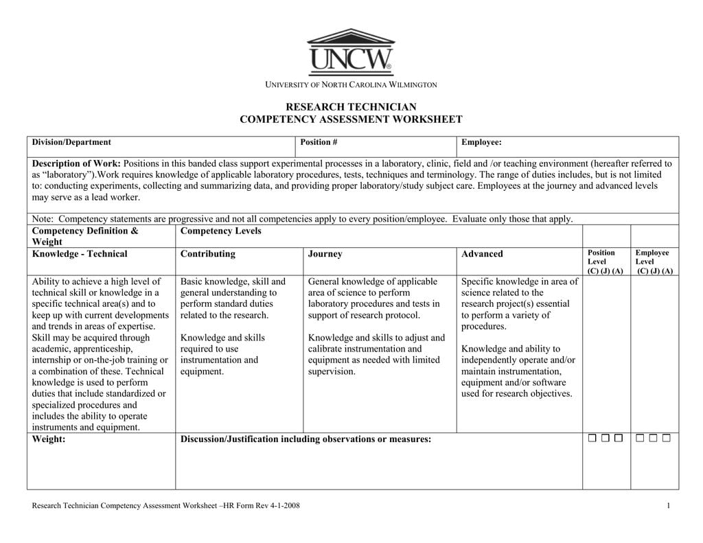 Research Technician Competency Assessment Worksheet