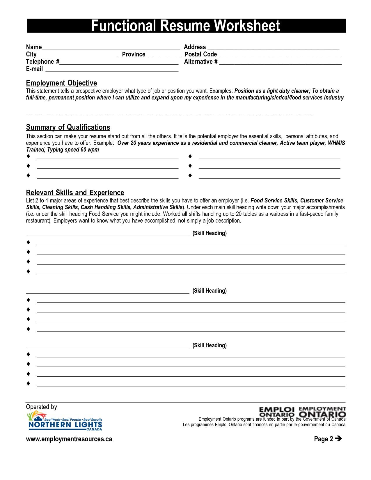 Resume Worksheets For Students