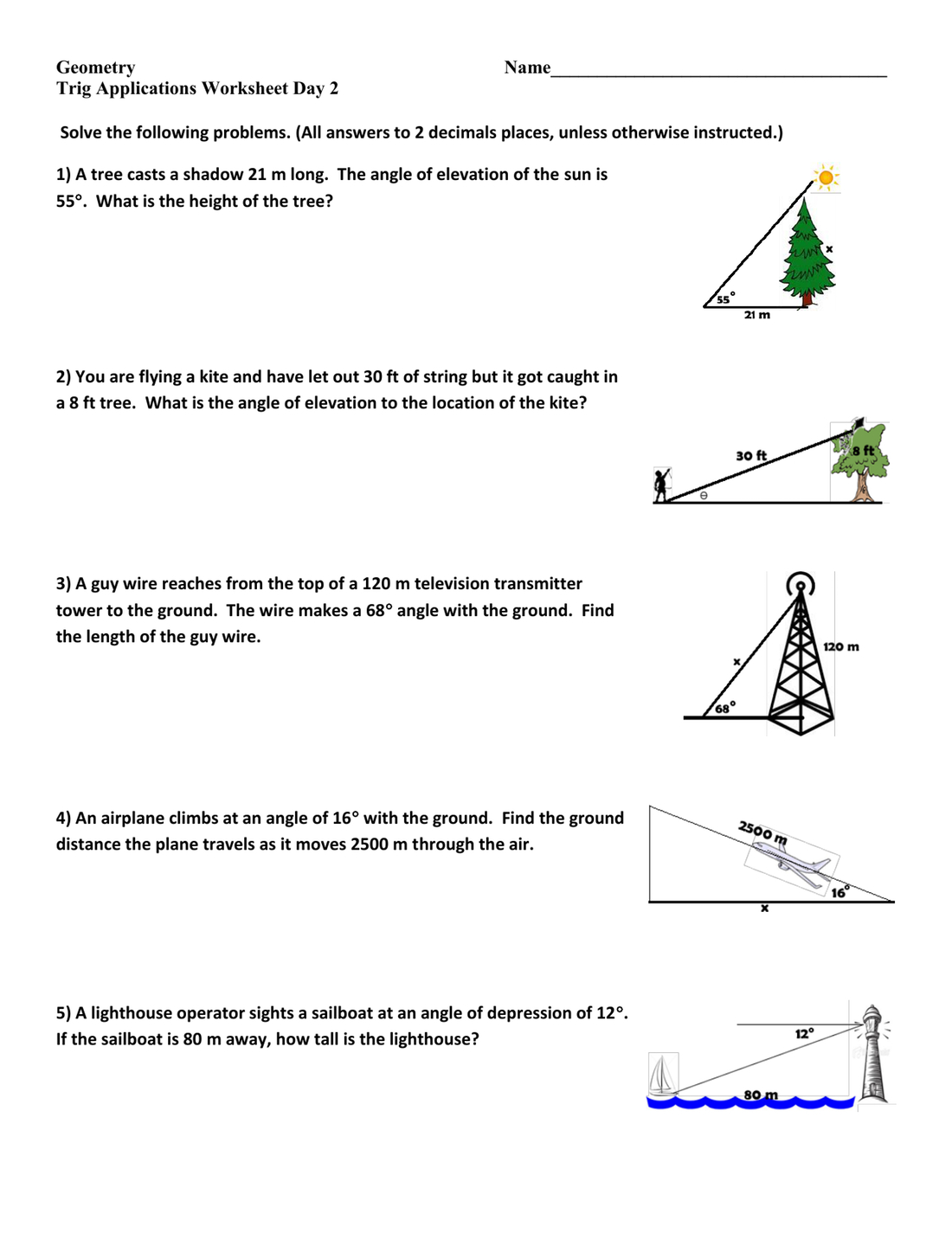 Right Triangle Word Problems Worksheet