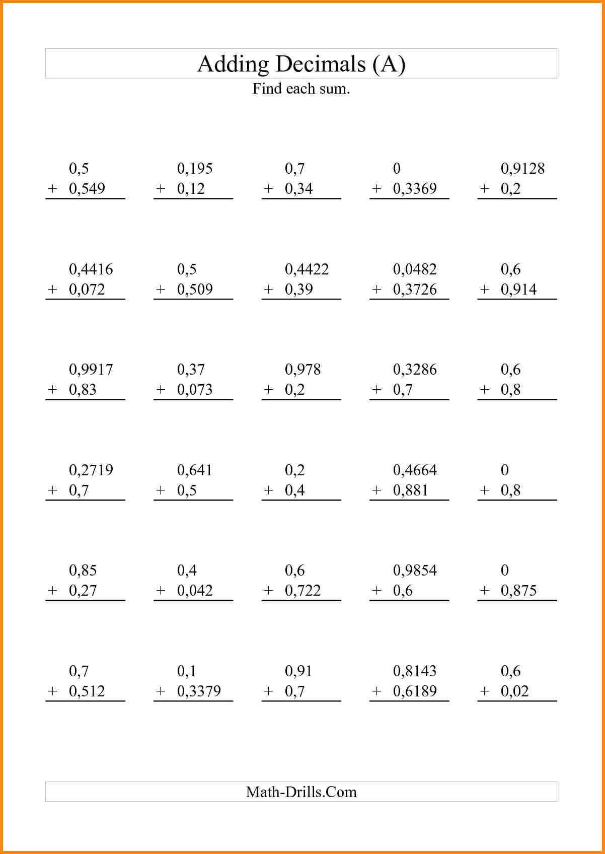 Rounding Decimals Worksheet 5th Grade To Free Math