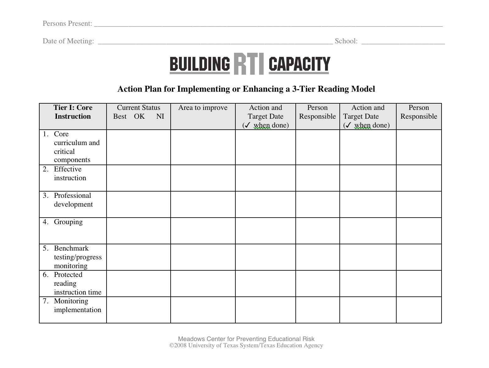 Rti Framework Integrity Rubric And Worksheet Building Rti