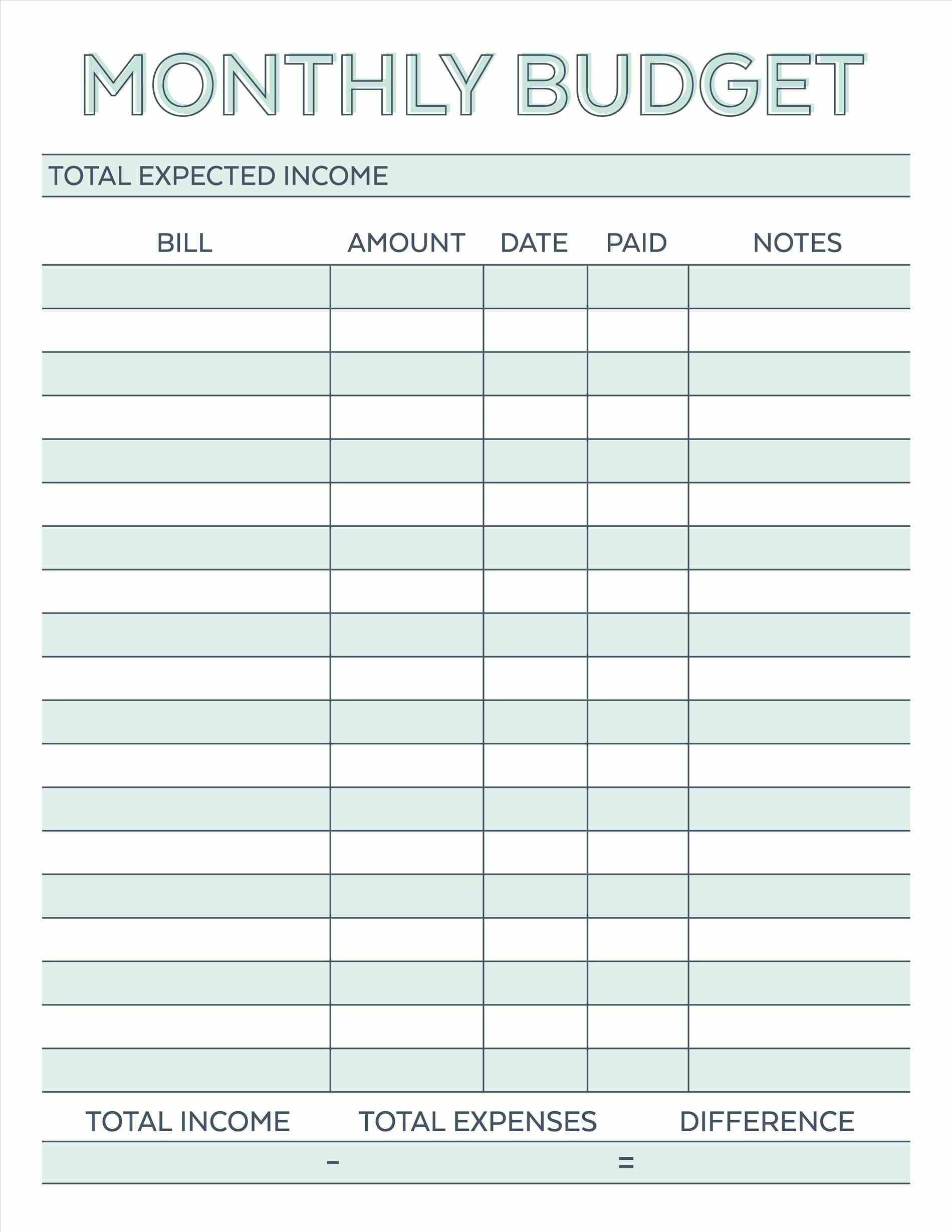 Sample Budget Worksheet