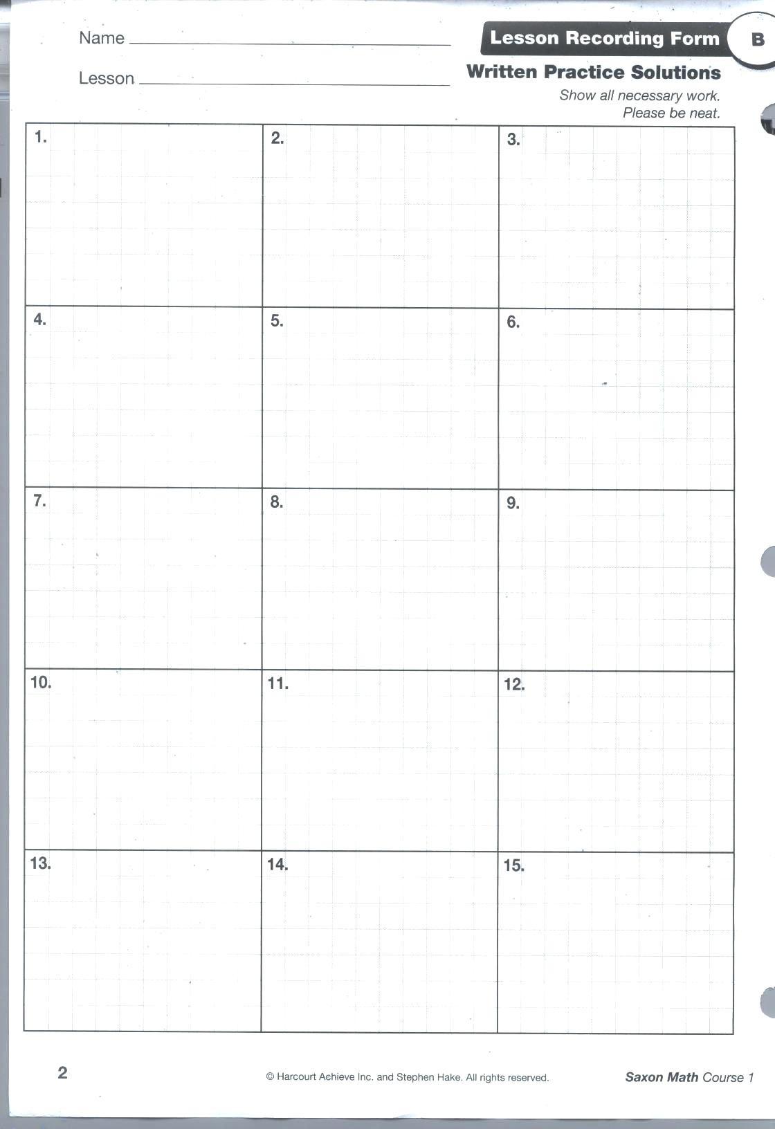 Saxon Math Grade 4 Worksheets