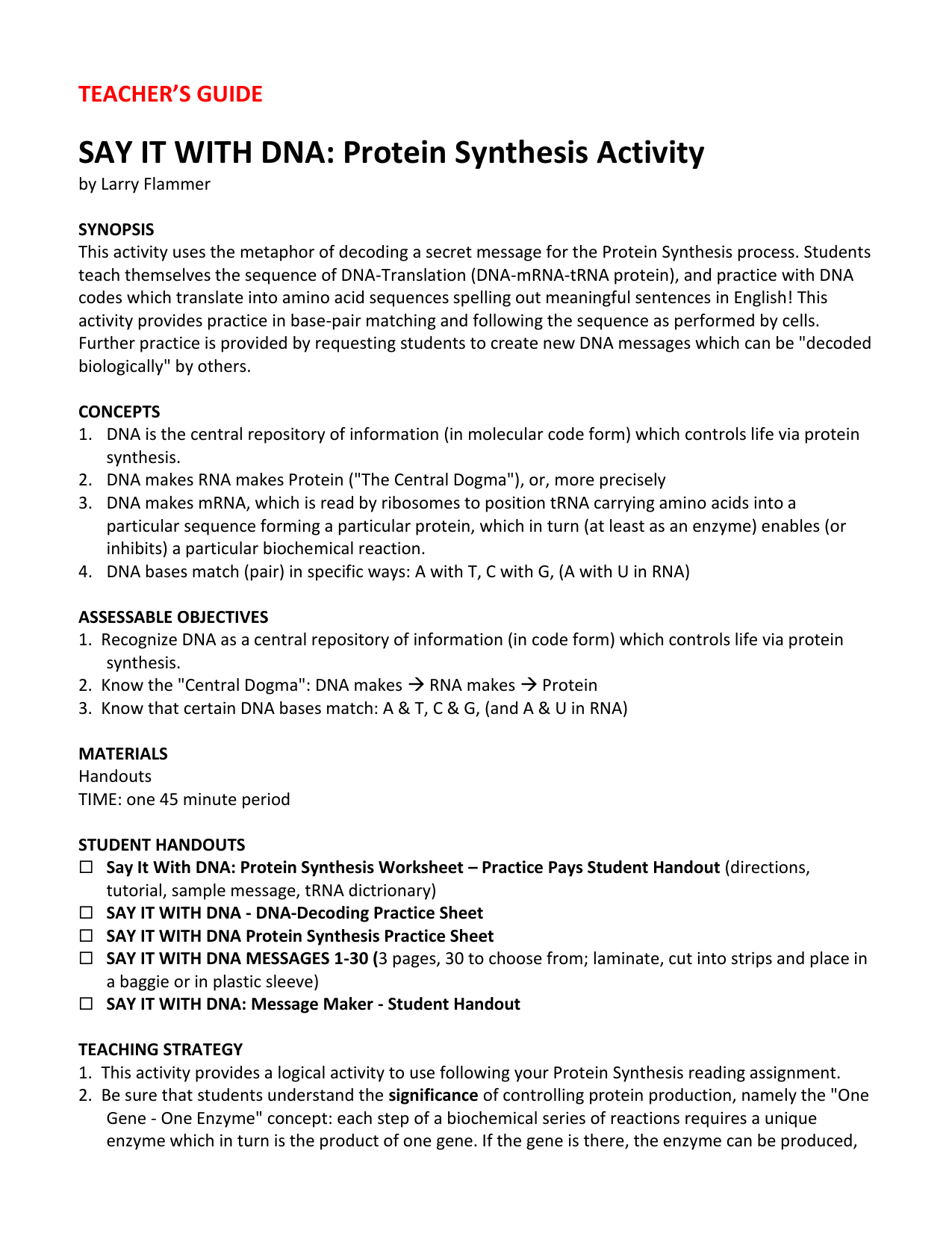 Protein Synthesis Practice Worksheet