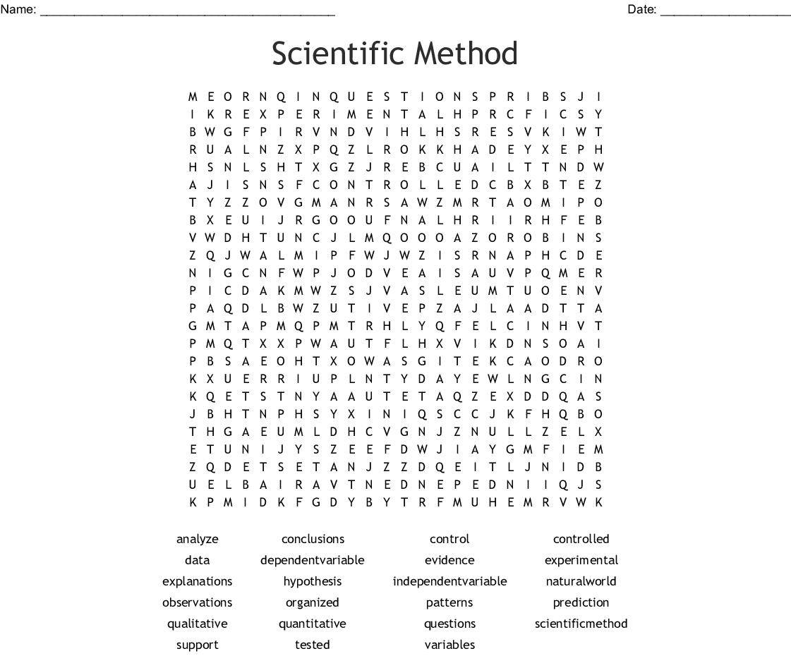 Scientific Method Word Search Word