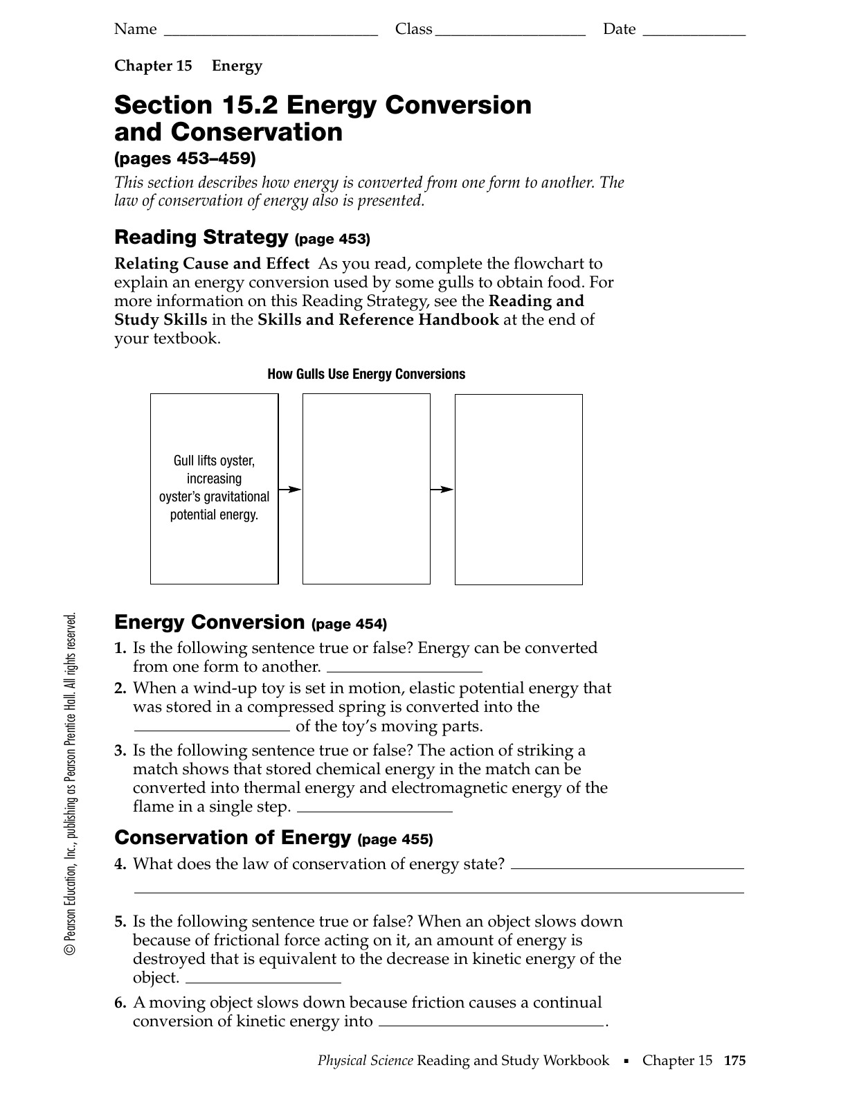 Section 152 Energy Conversion And Conservation Worksheet