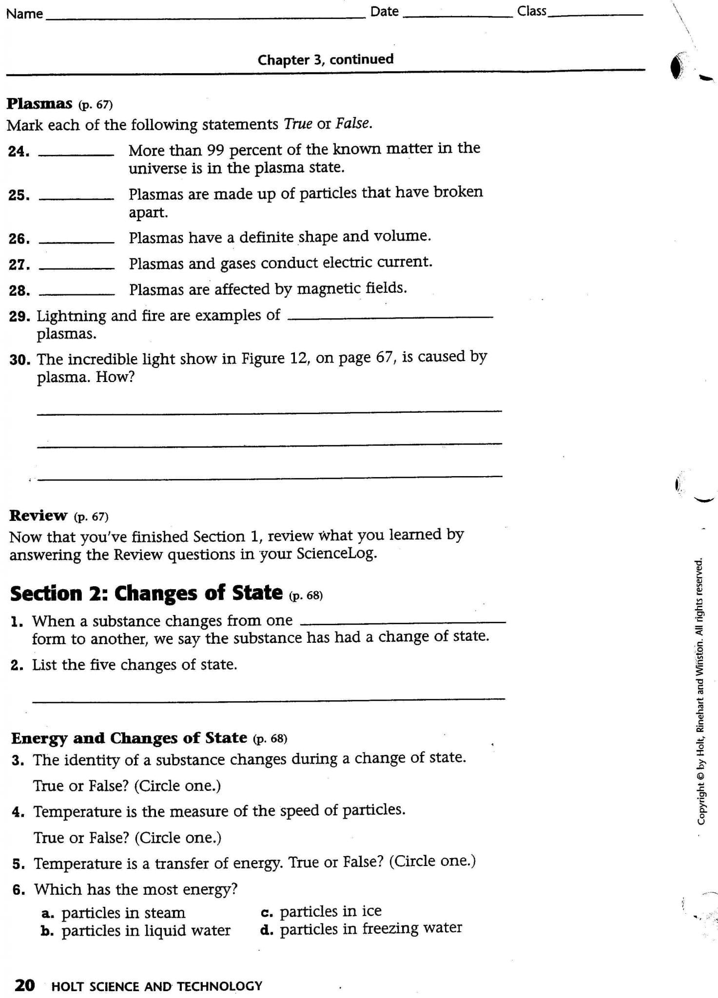 Section 3 Using Heat Worksheet Answers Math Worksheets