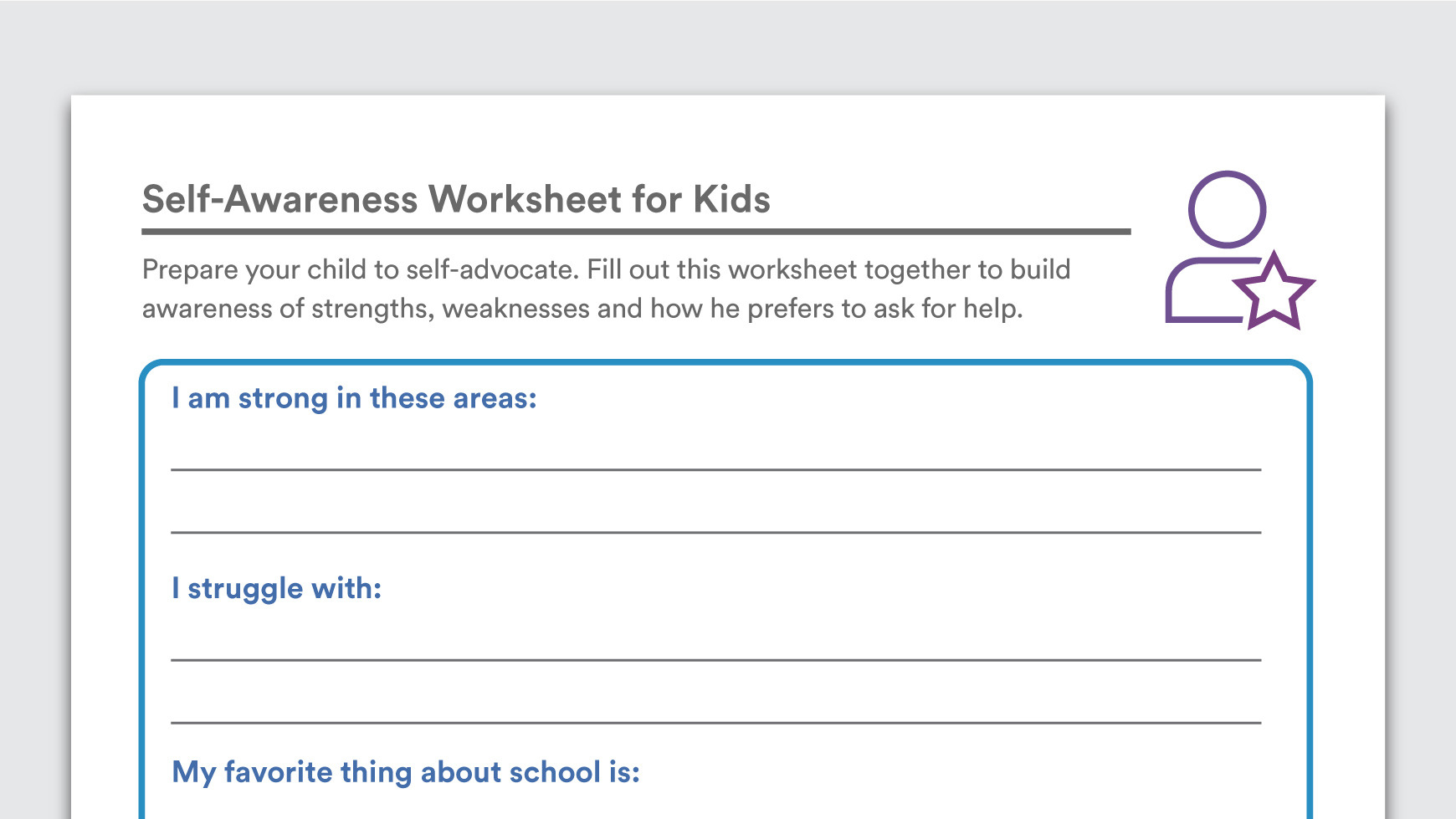 Self Areness Worksheets For Kids