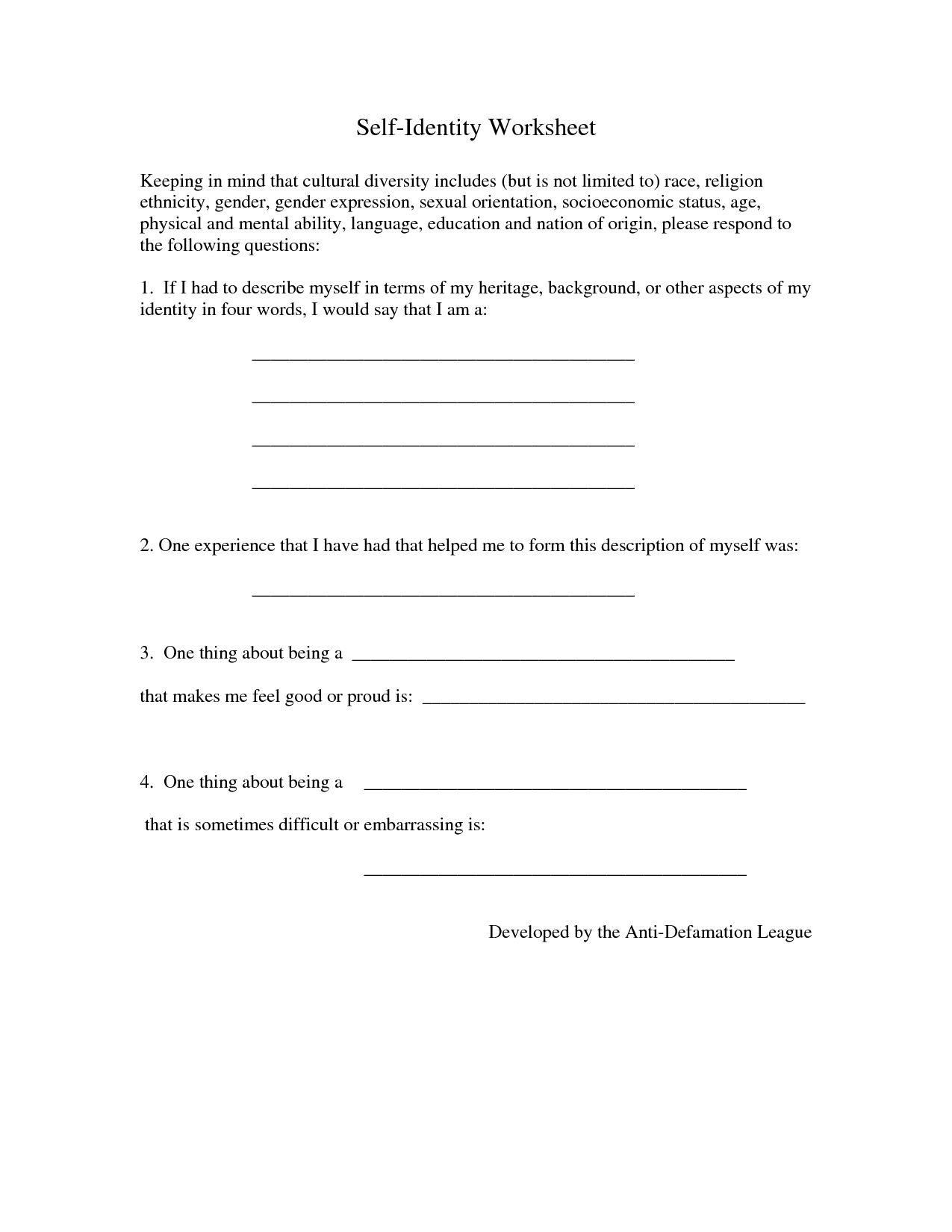 Building Self Esteem In Teenagers Worksheets