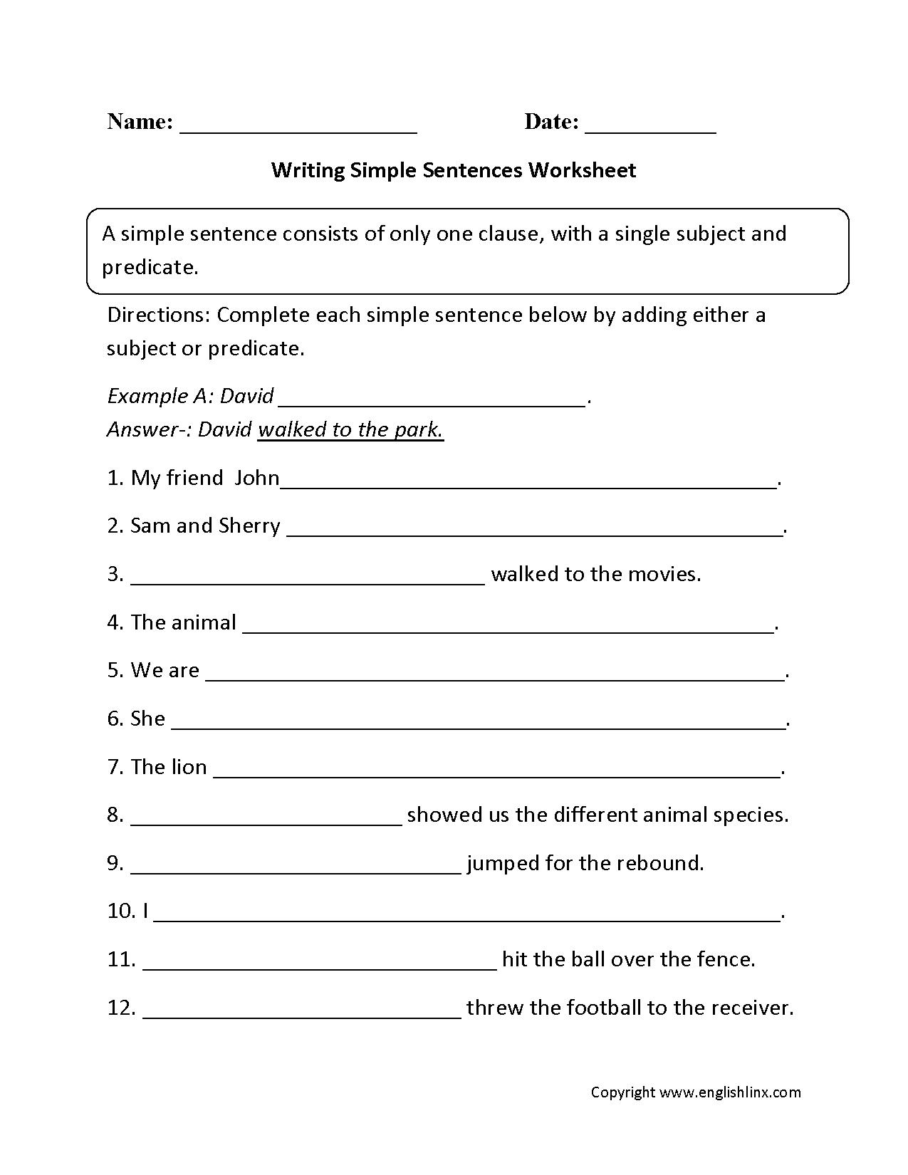 Writing Sentences Worksheets
