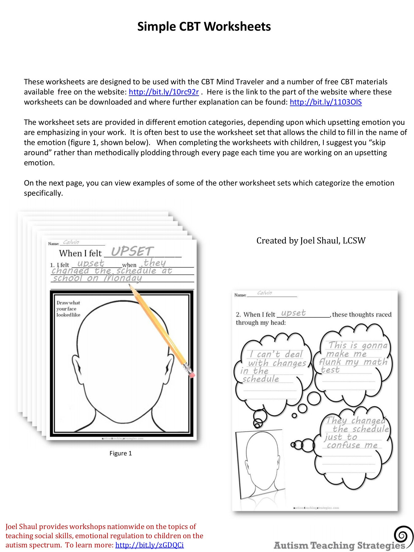 Simple Cbt Worksheets Autism Teaching Strategies Pages 1