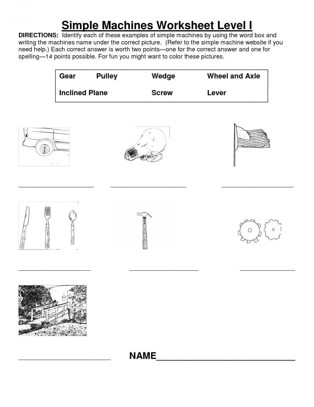 Simple Machines Worksheet Middle School