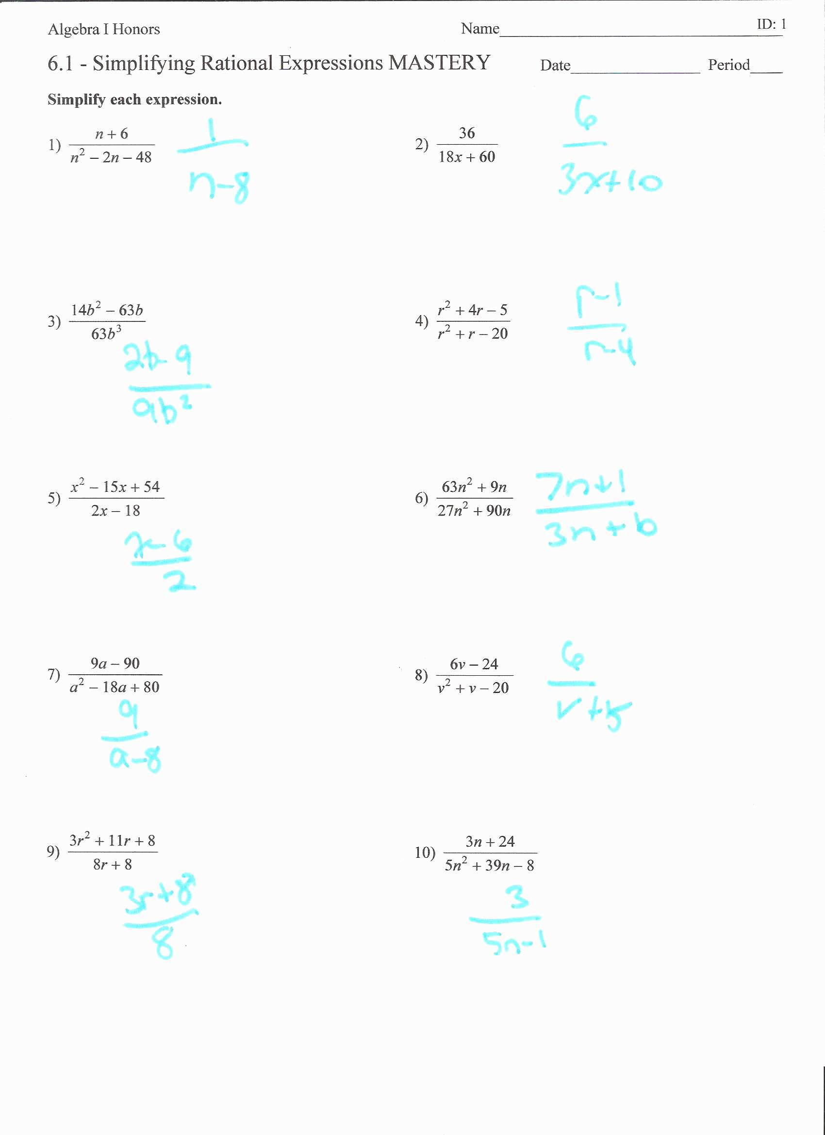 Simplify Each Expression Worksheet Answers