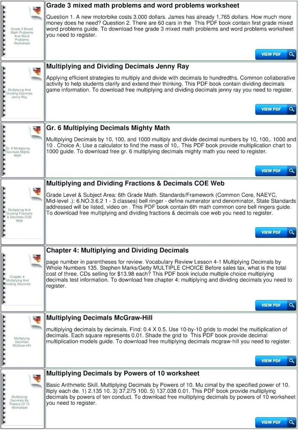 Singular Worksheet Multiplying Decimals10 100 And