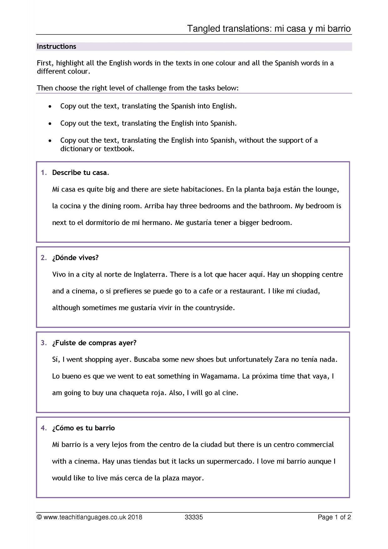 Did You Get It Spanish Worksheet Answers