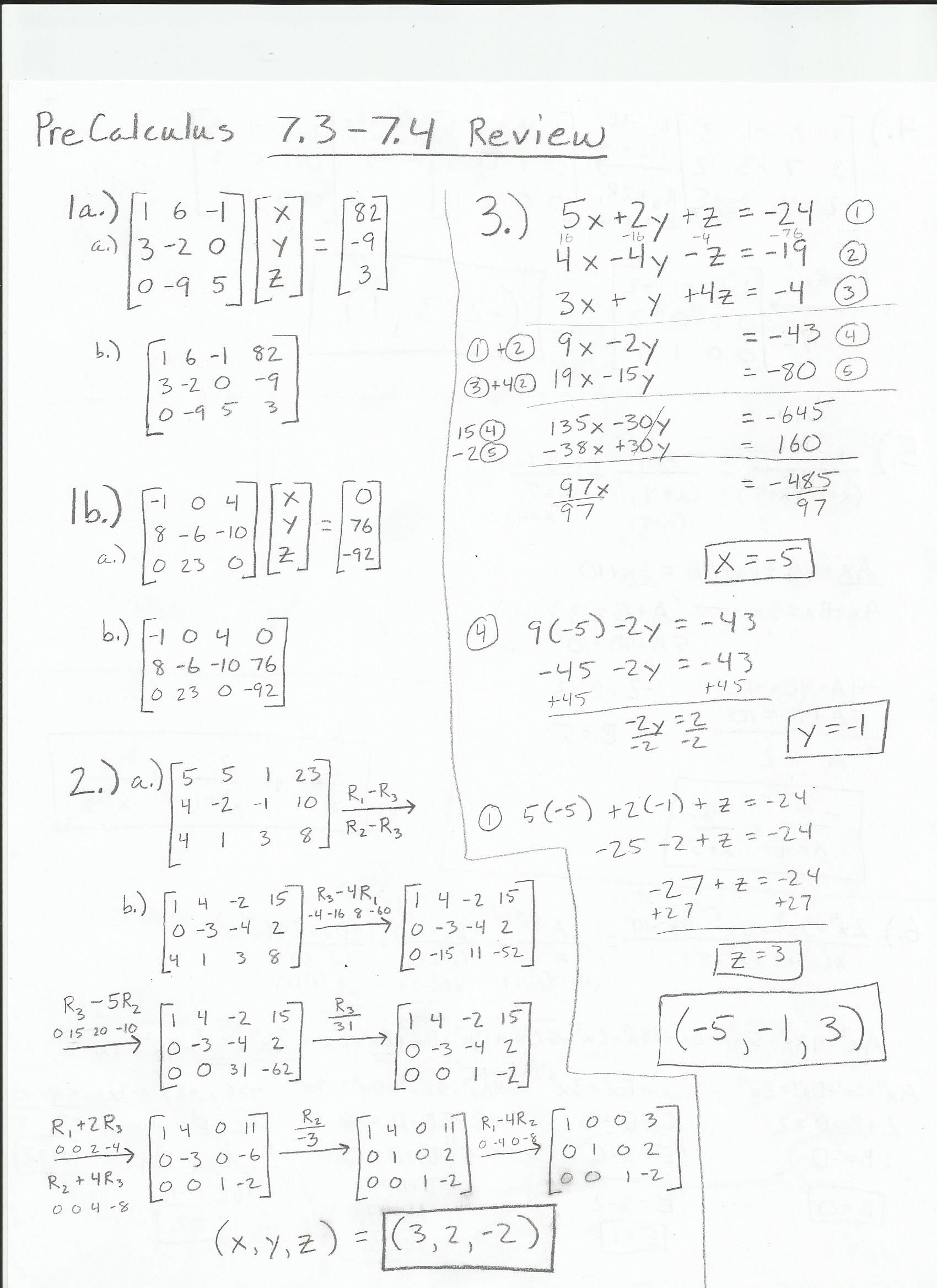 Pre Calculus Composite Functions Worksheet Answers