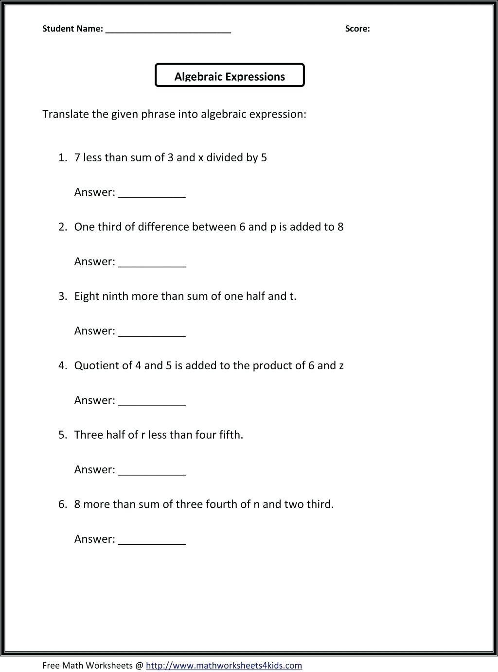 Stirring 6th Grade Decimal Word Problems Printable