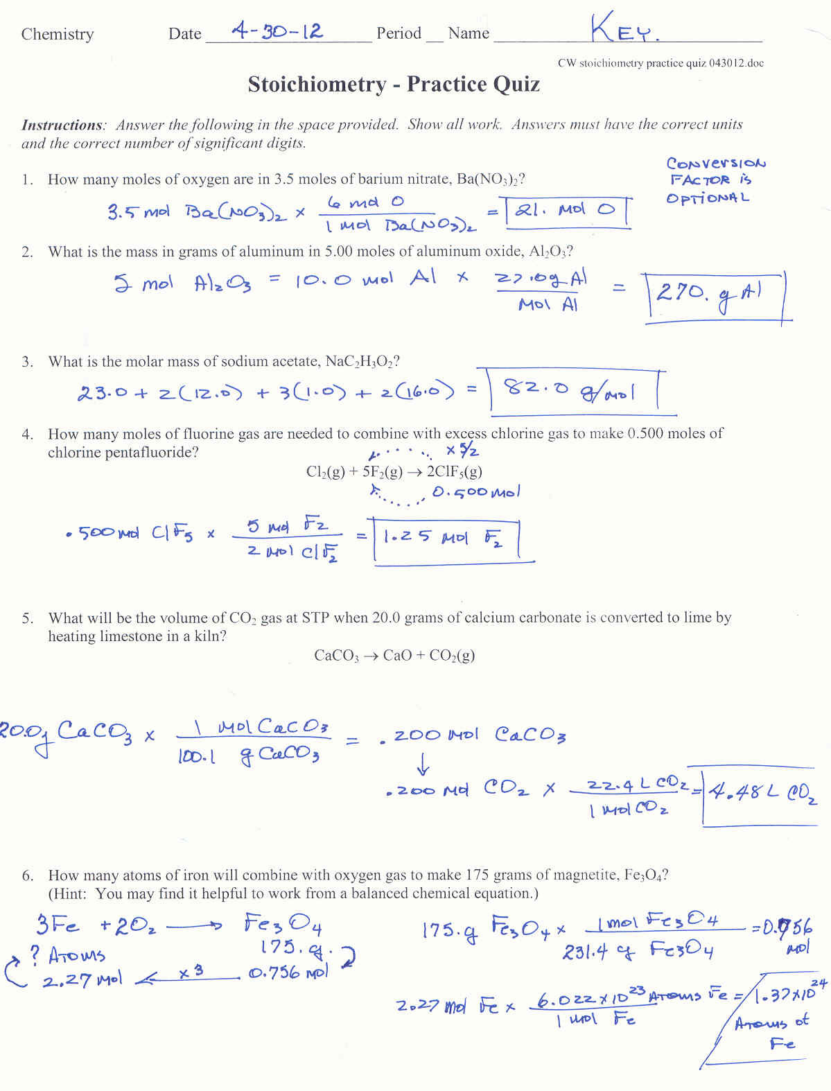 Stoichiometry Worksheet Answer Key Inequalities Worksheet