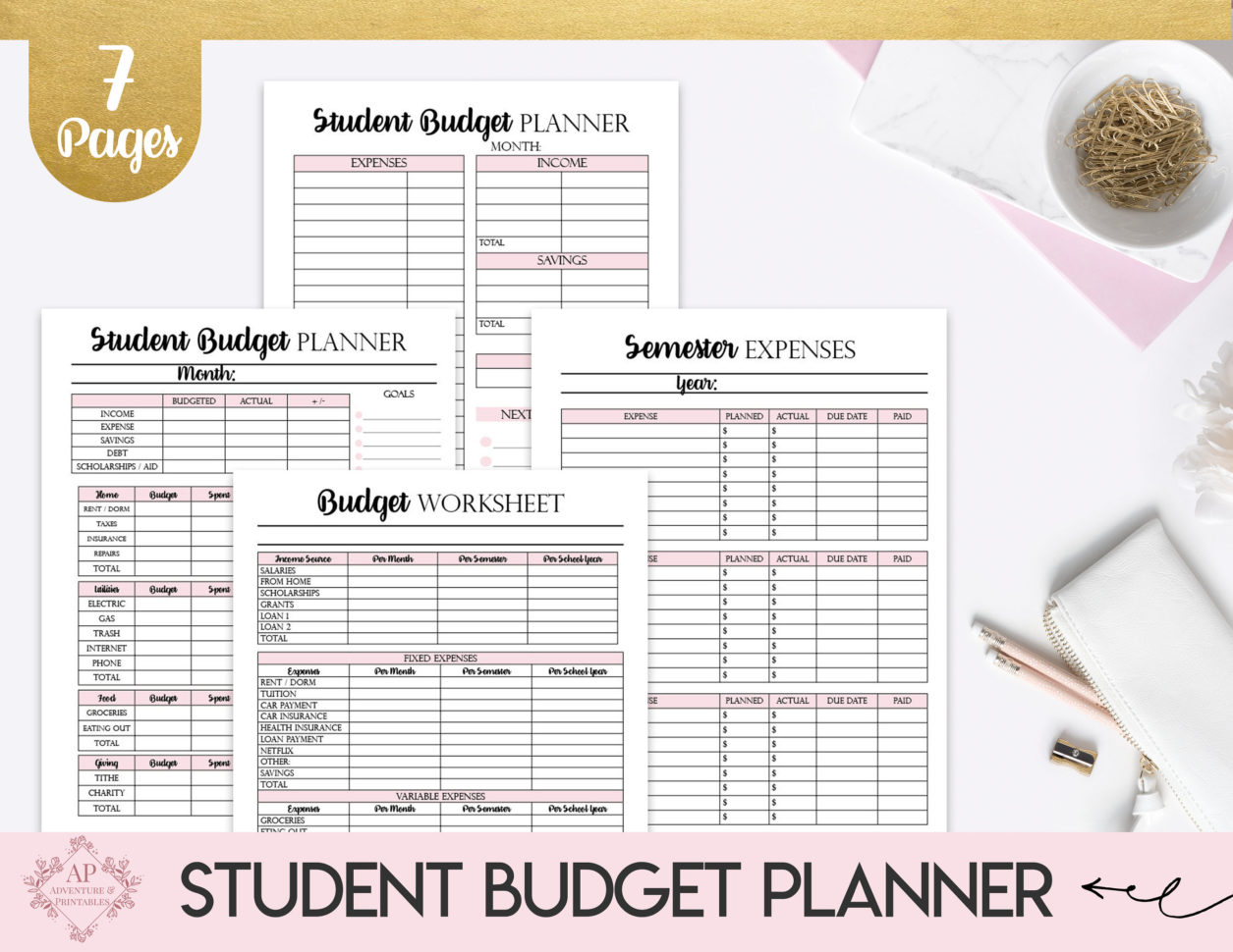 Student Budget Planner Collage Student Budget Worksheet