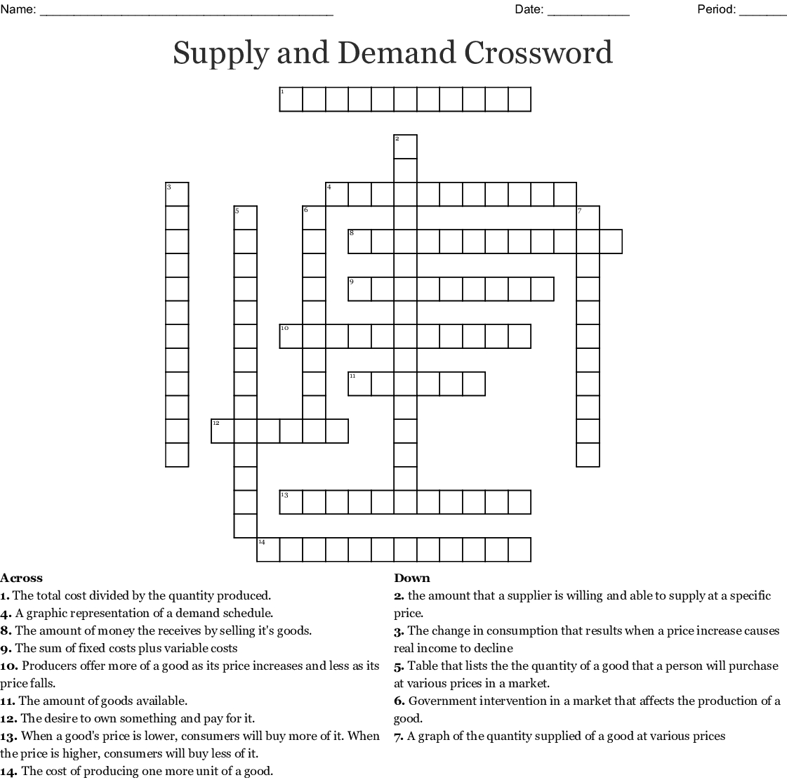 Supply And Demand Crossword Word