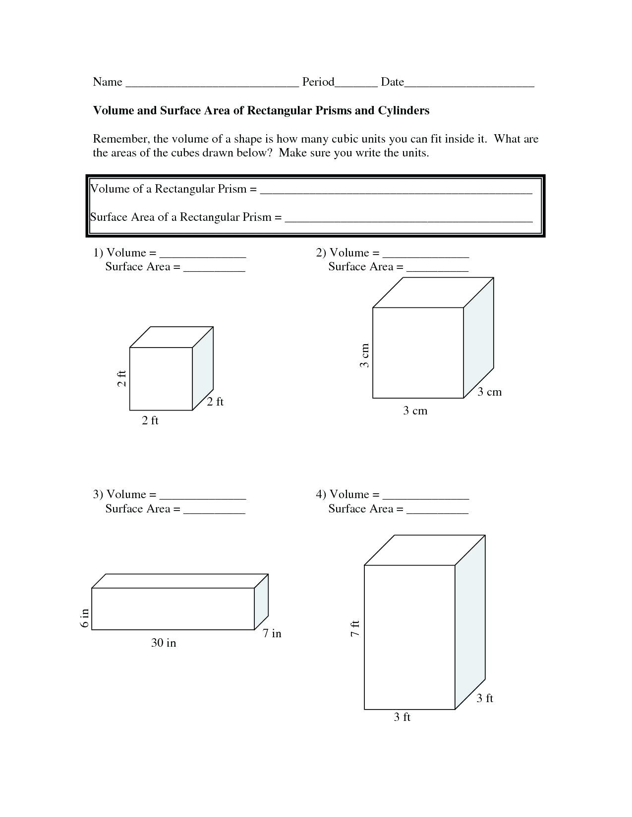 Surface Area Net Worksheet Math New Volume And Worksheets