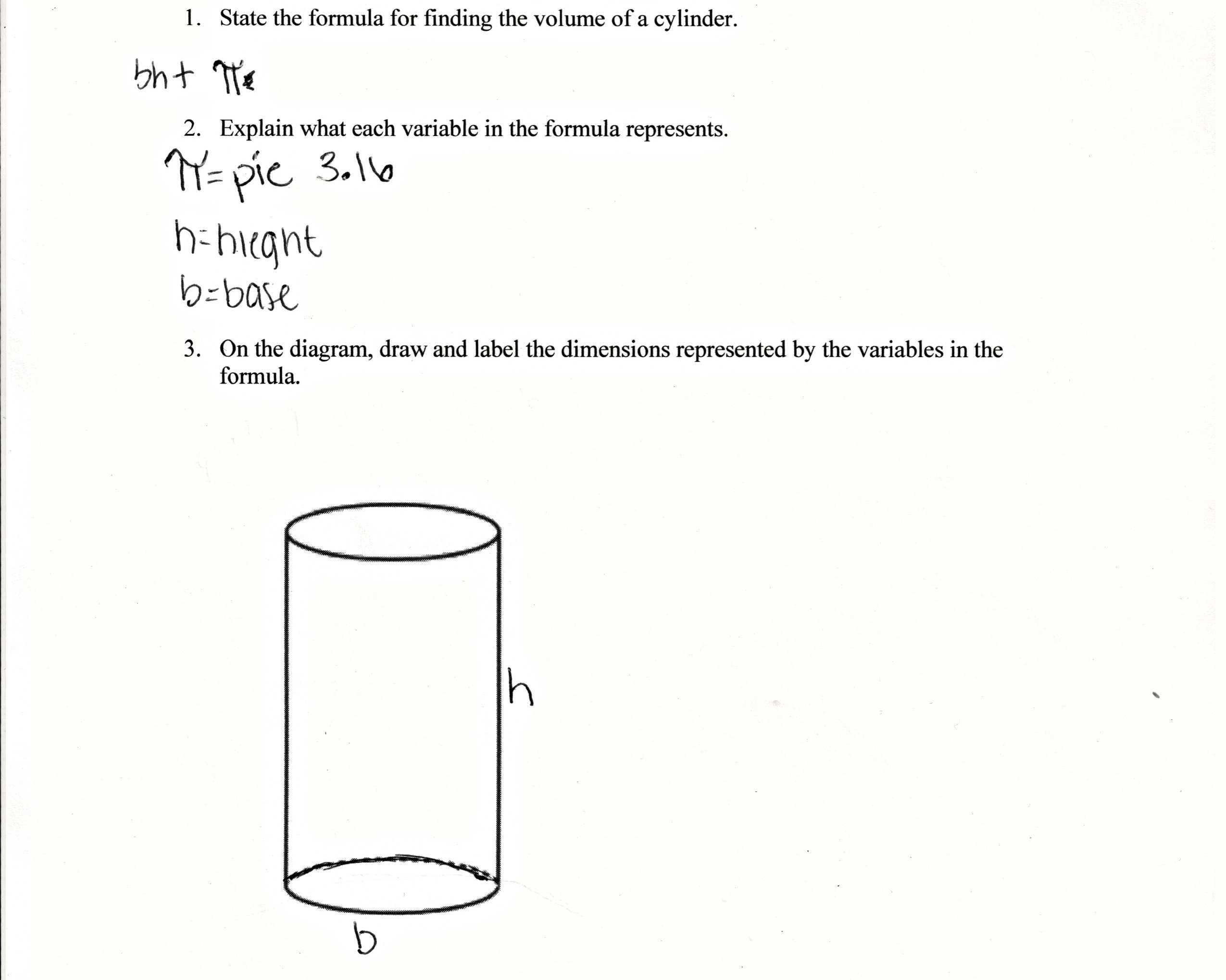 Volume Cylinder Worksheet Answers Db Excel