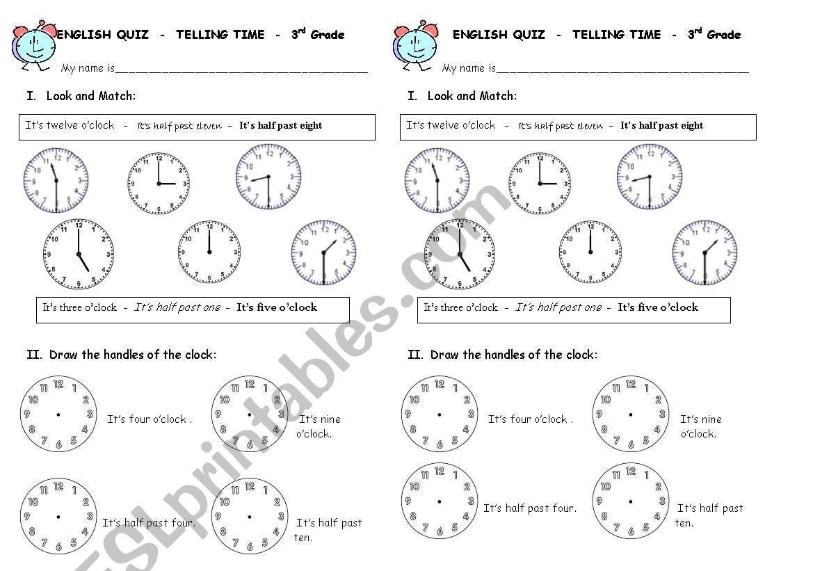 Clock Quiz Worksheet