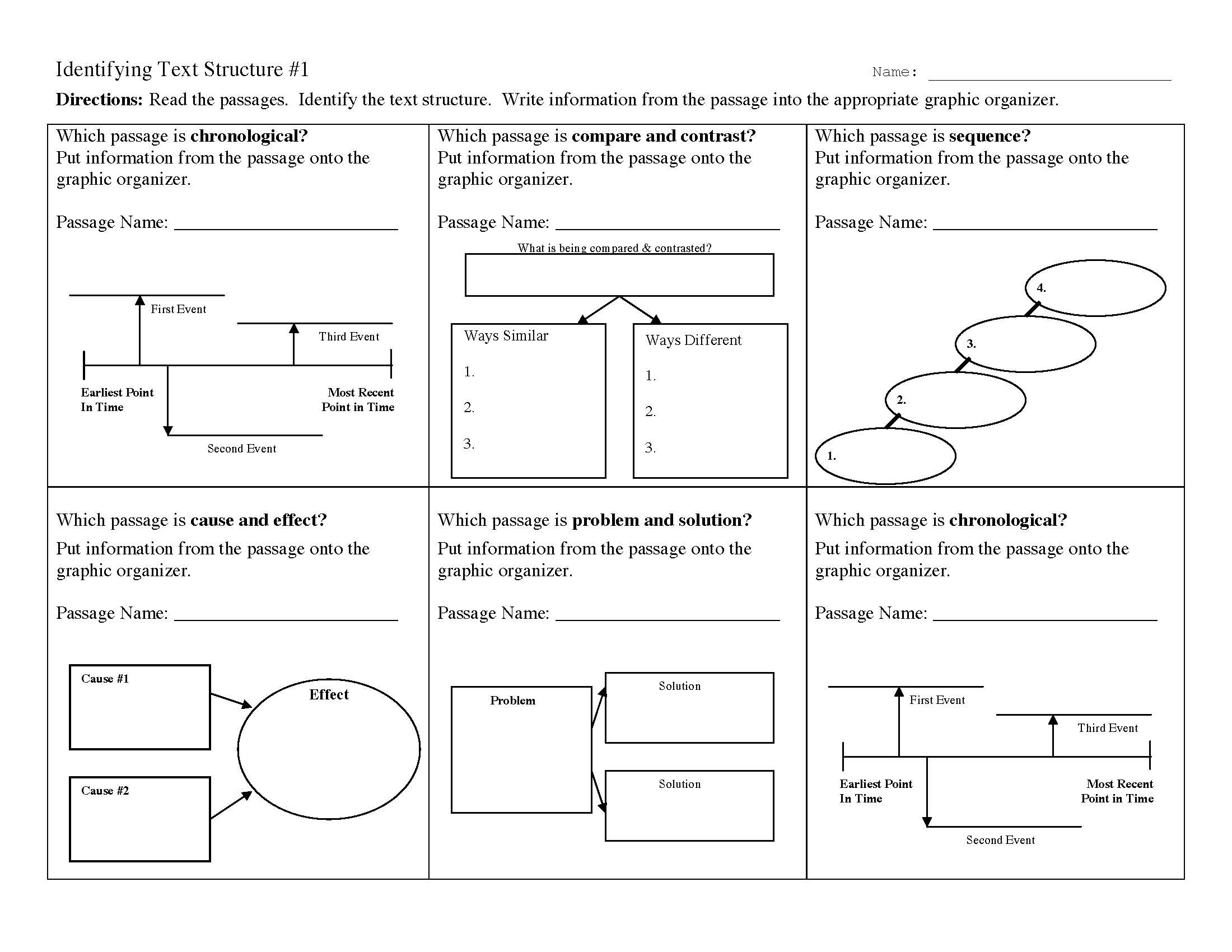Identifying Text Structure Worksheets
