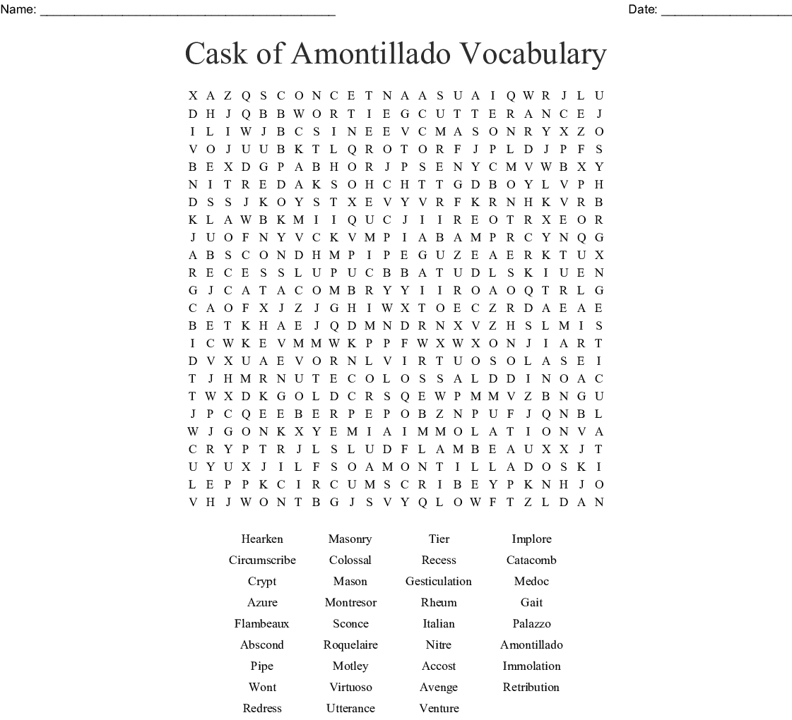 The Cask Of Amontillado Word Search Word