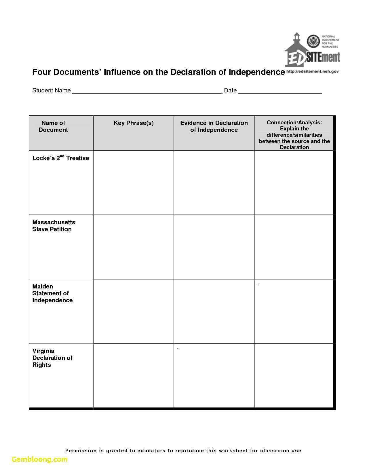 The Declaration Of Independence Worksheet