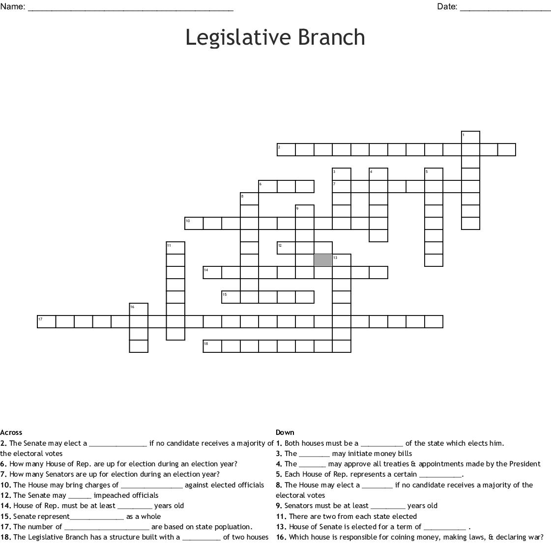 The Legislative Branch Crossword Word Db Excel