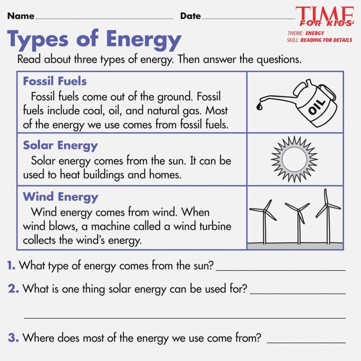 Energy Worksheets Grade 5