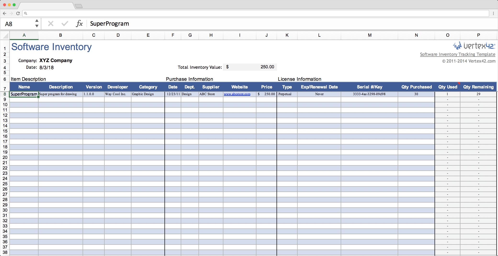 Inventory Worksheet Template