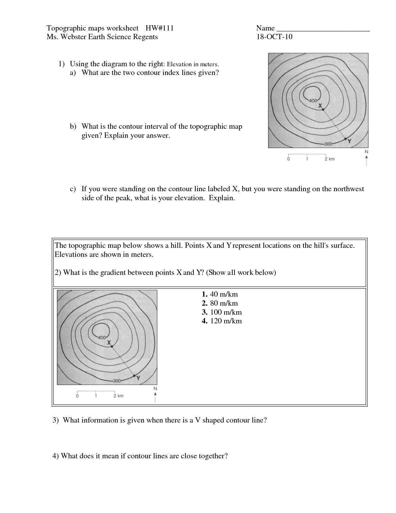 Topographic Map Worksheet 91 Images In Collection Page 2