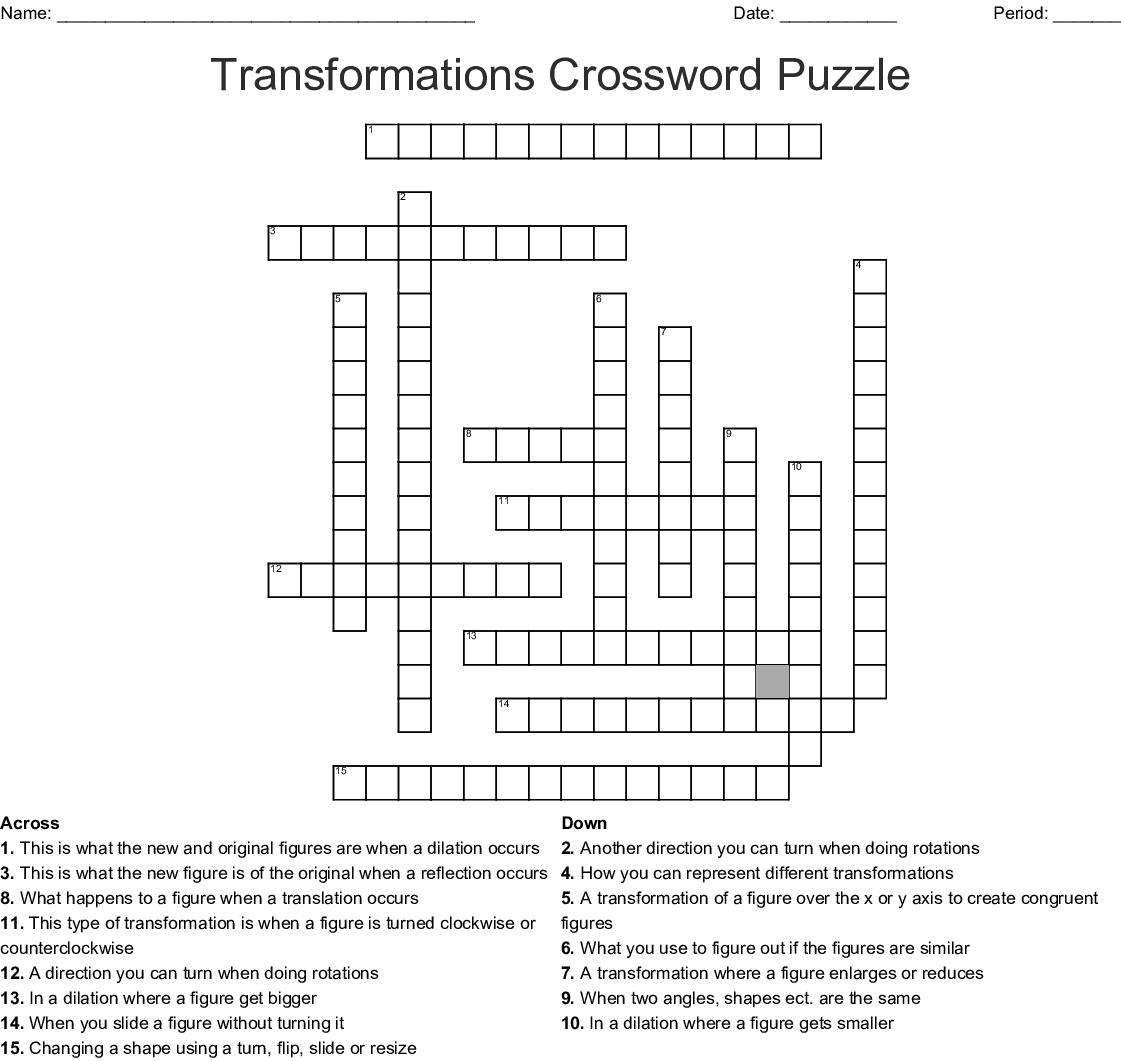 Transformations Crossword Puzzle Word