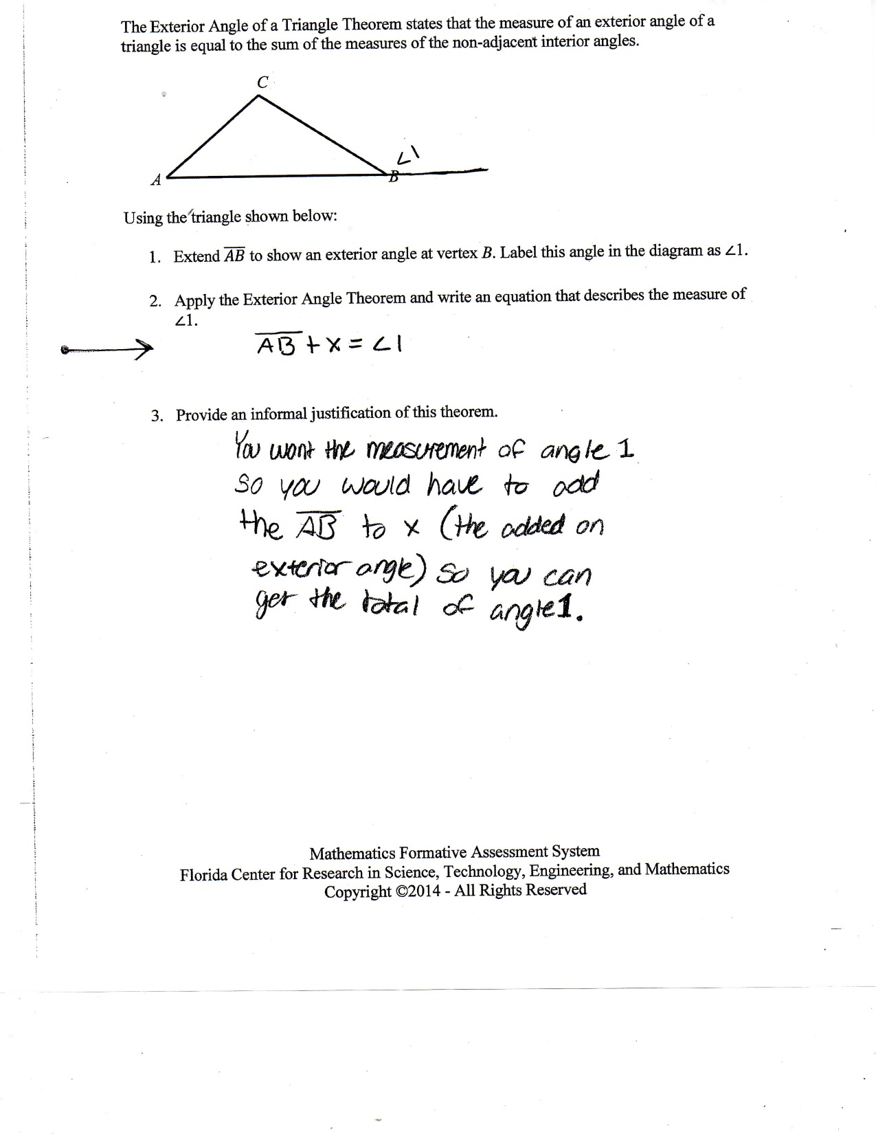 Triangle Sum And Exterior Angle Theorem Worksheet Fraction