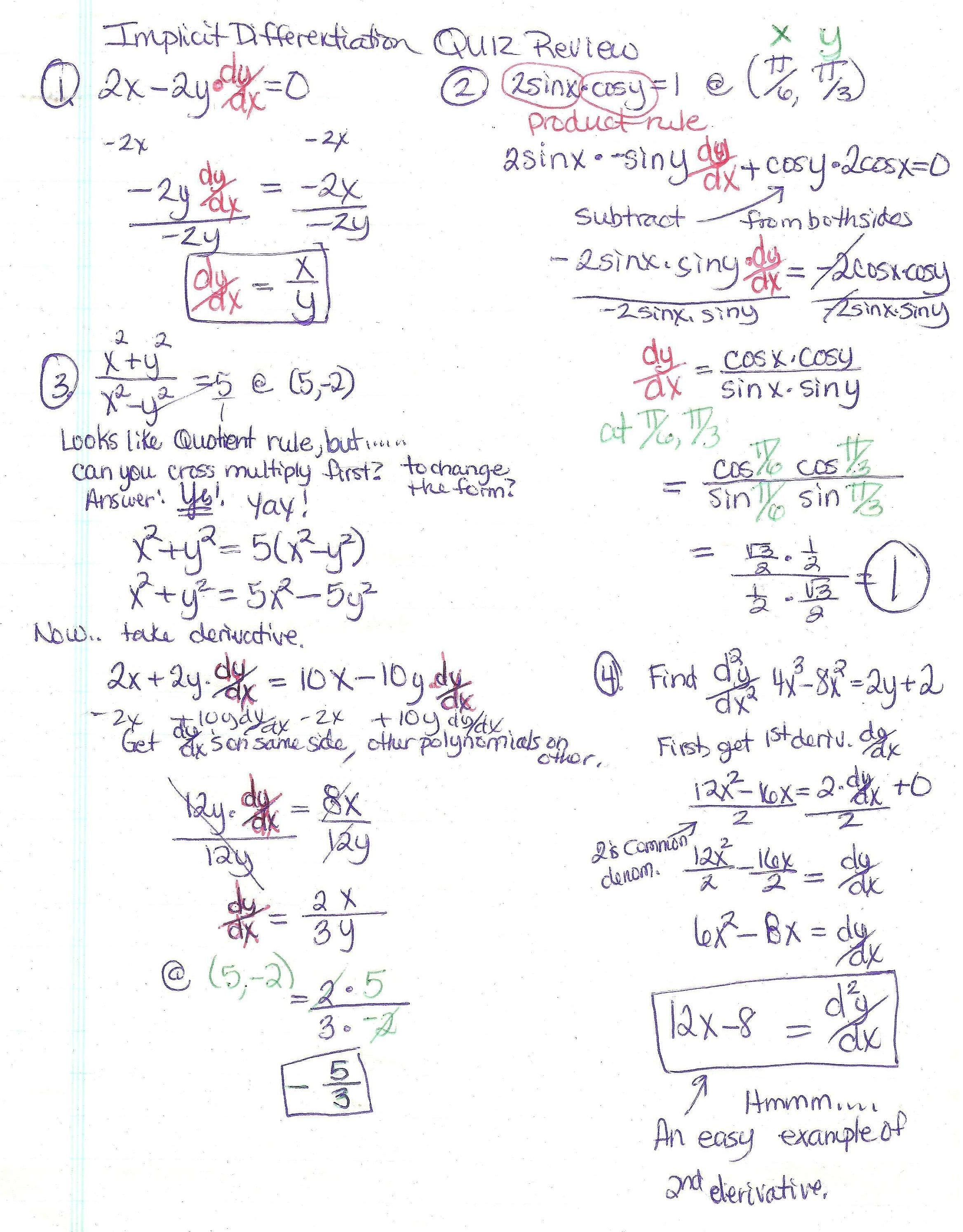 Trigonometry Worksheet Circular Functions Answers