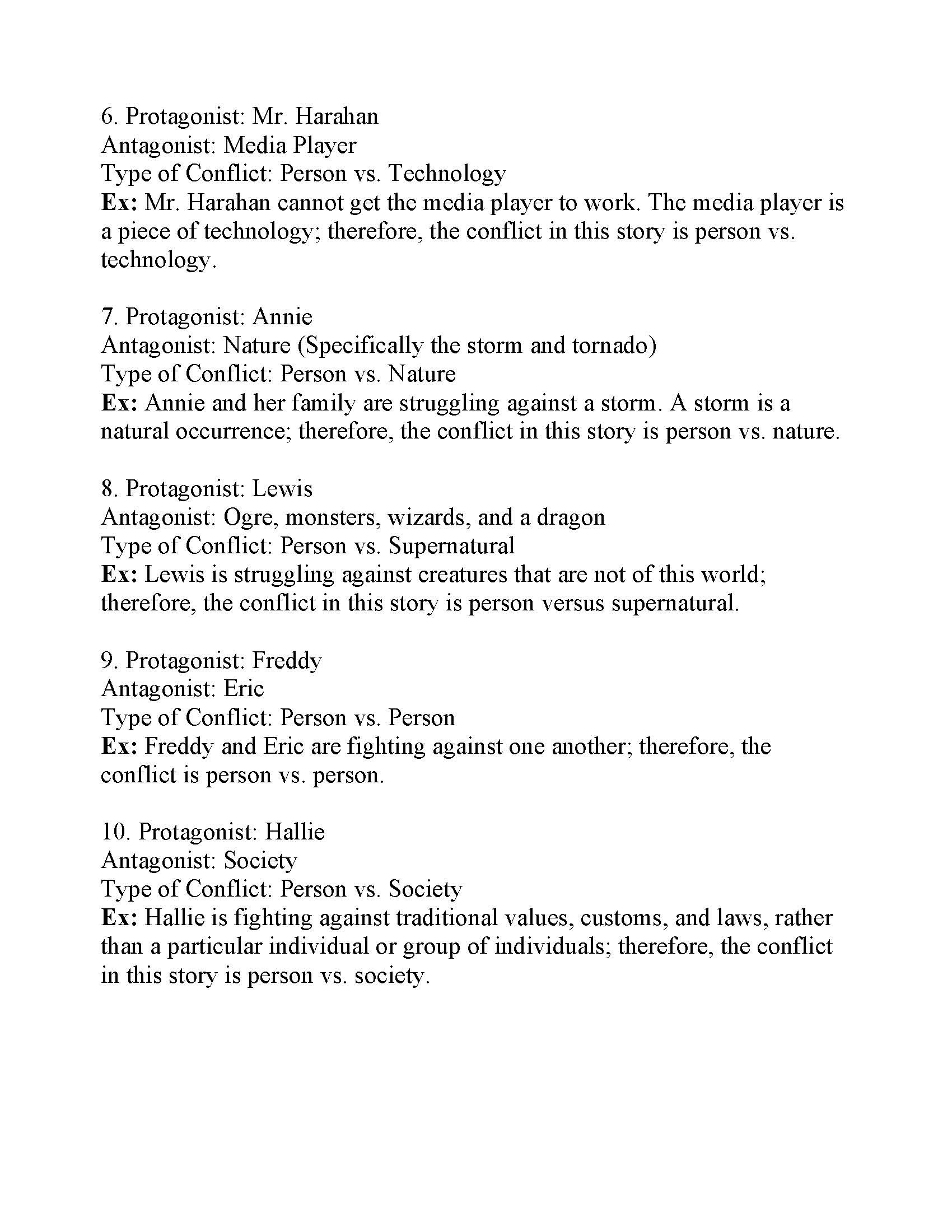 Types Of Conflict Worksheet 2 Answers