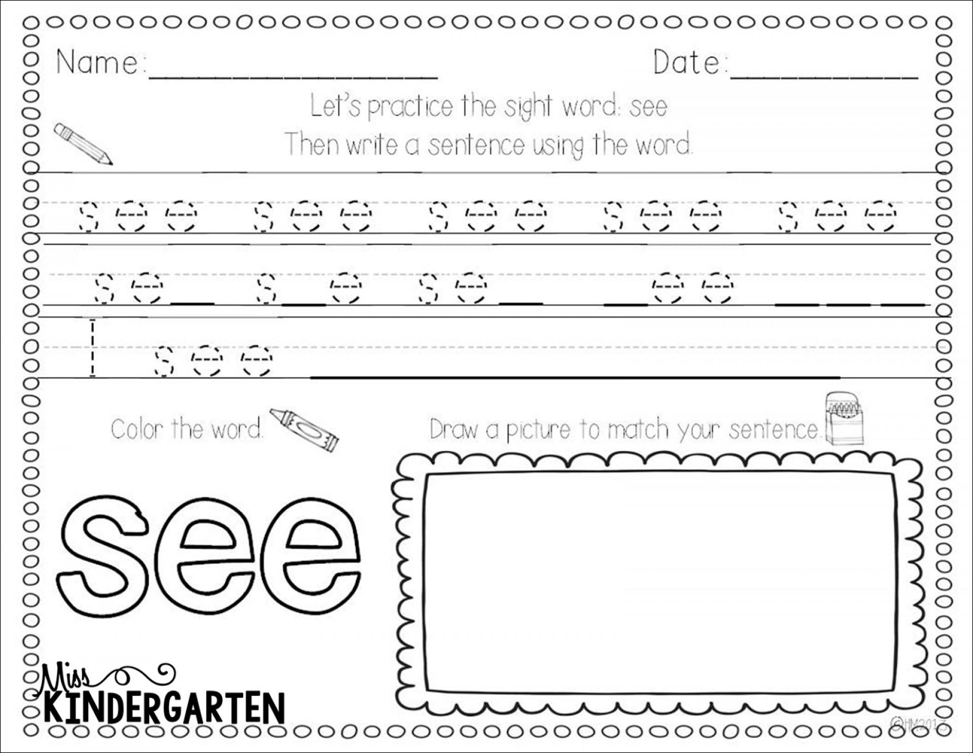 Unusual Printable Sight Word Practice Worksheets Free
