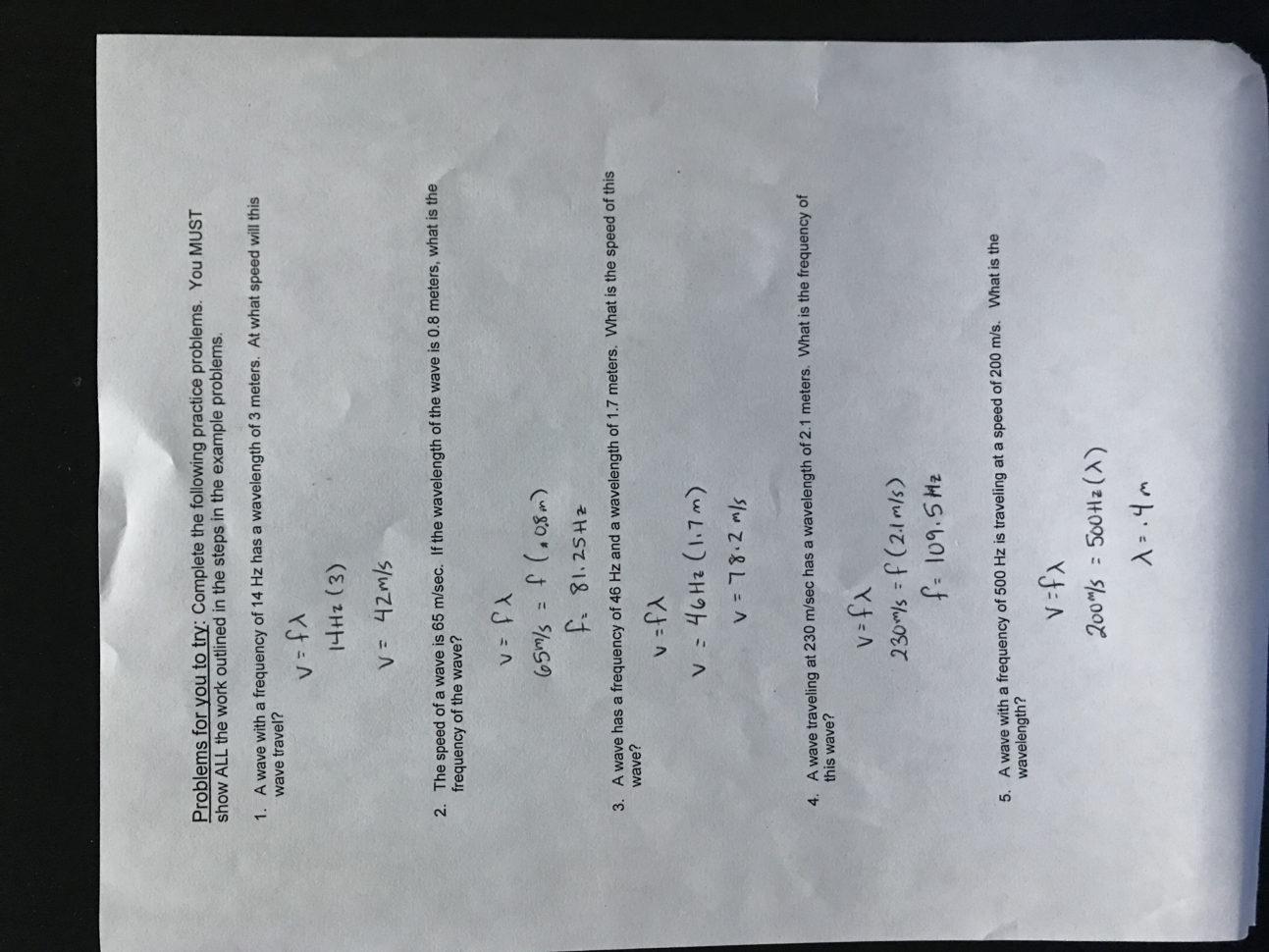 Waves Worksheet Answer Key Physics